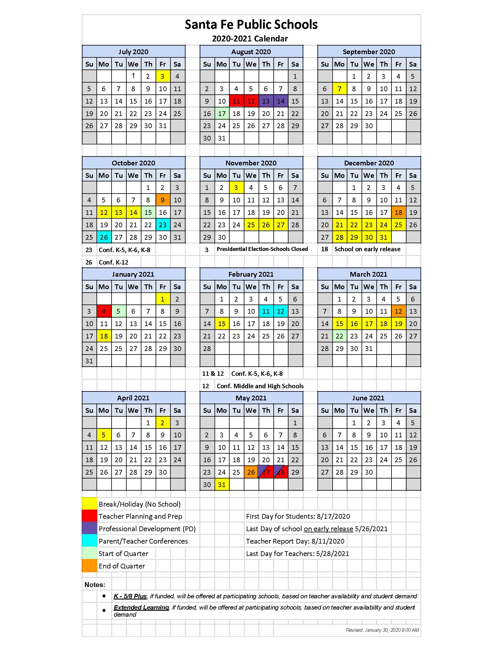 01-30-2020 Sy 2020-21 Calendar - Santa Fe Public Schools inside Santa Fe Public Schools Calendar
