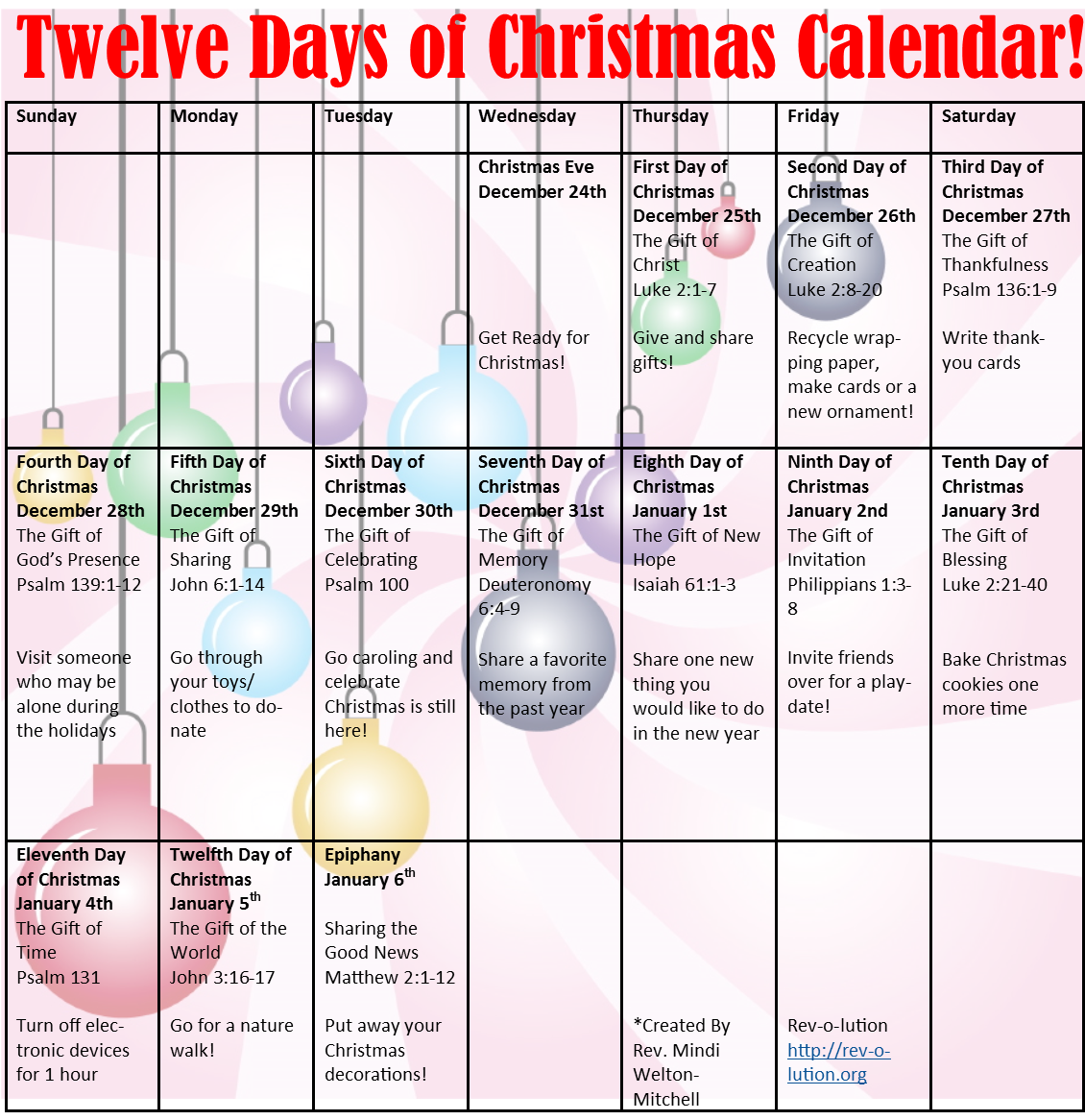 12 Days Of Christmas Calendar | Christmas Printable Intended For 12 Days Of Christmas Calendar