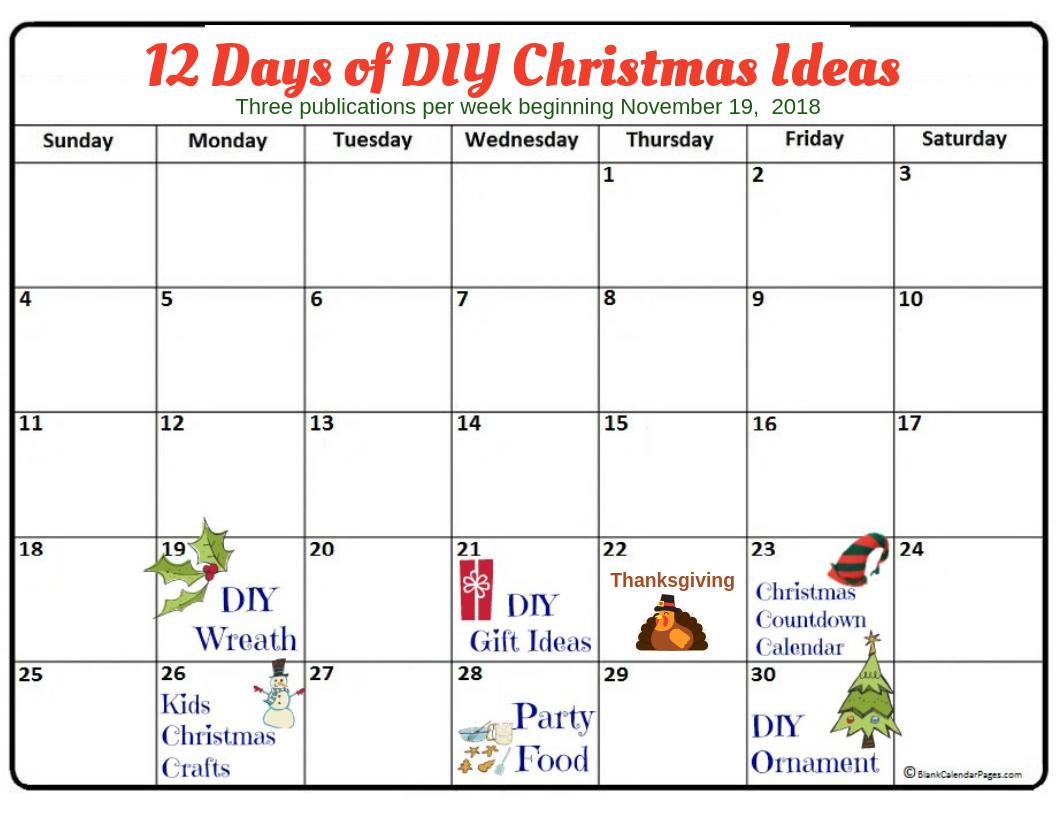 12 Days Of Christmas Diy Ideas 2018 Post Calendar November Pertaining To 12 Days Of Christmas Calendar