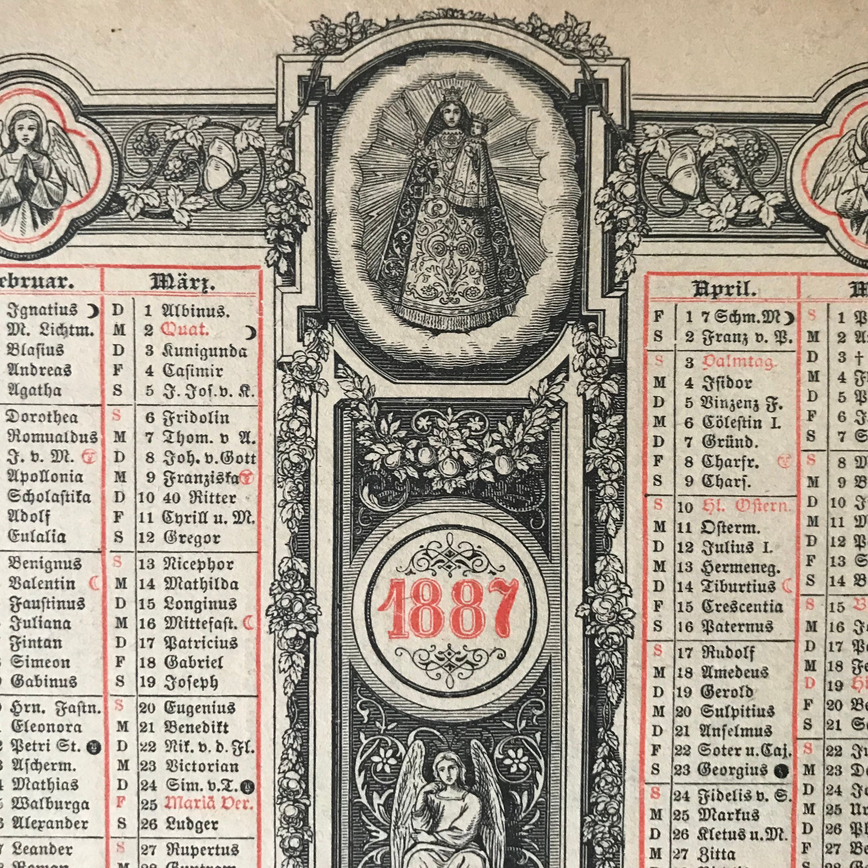 1887 Liturgical Calendar Of Saints Feast Days With Roman Catholic Saint Days Calendar