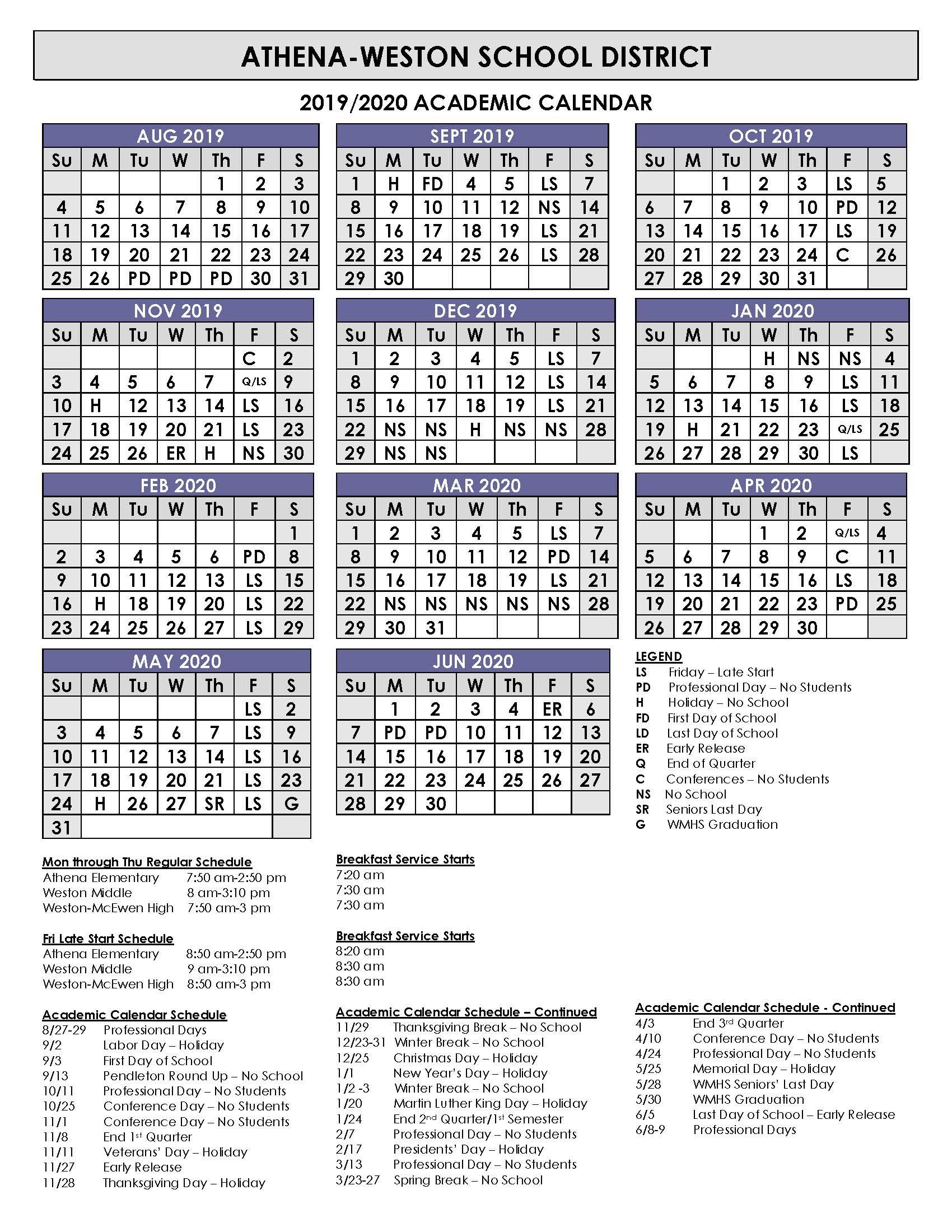 19 20 Academic Calendar | Athena Weston School District For East Meadow School District Calendar