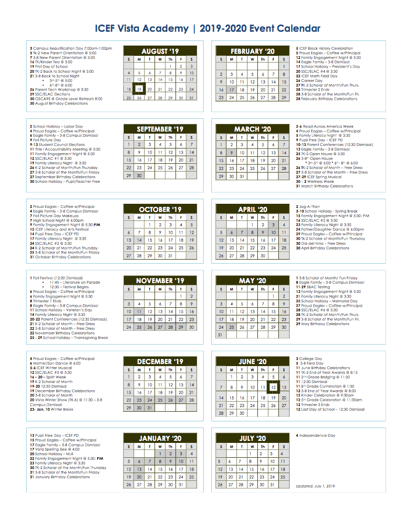 19 20 School Calendar – About Icef Vista – Icef Vista Middle Intended For Fontana School District 12 Month Employee Calendar