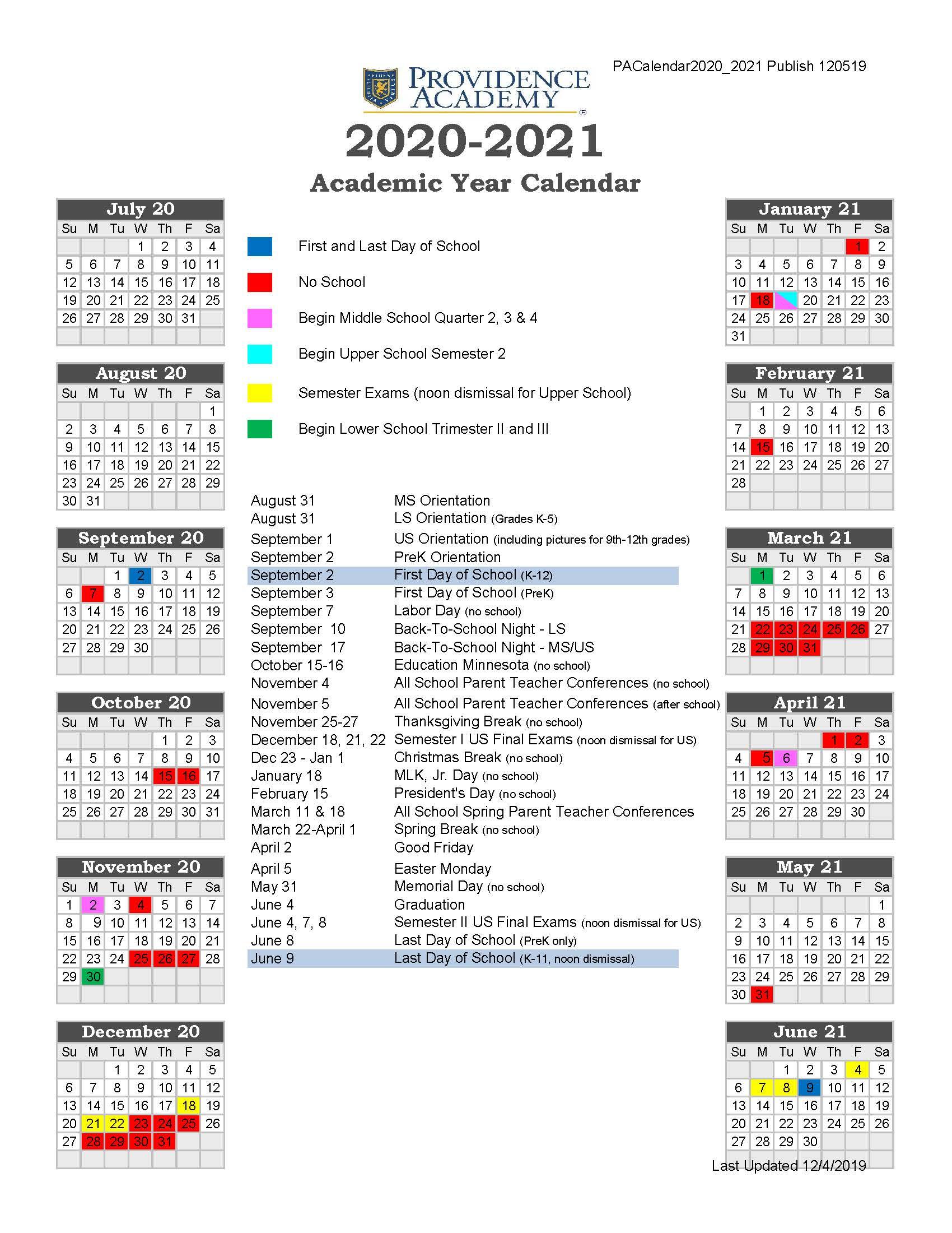 19 20 Providence Academy Academic Calendar 2020 2021 For White Bear Lake Calendar Handbook 2021 2021