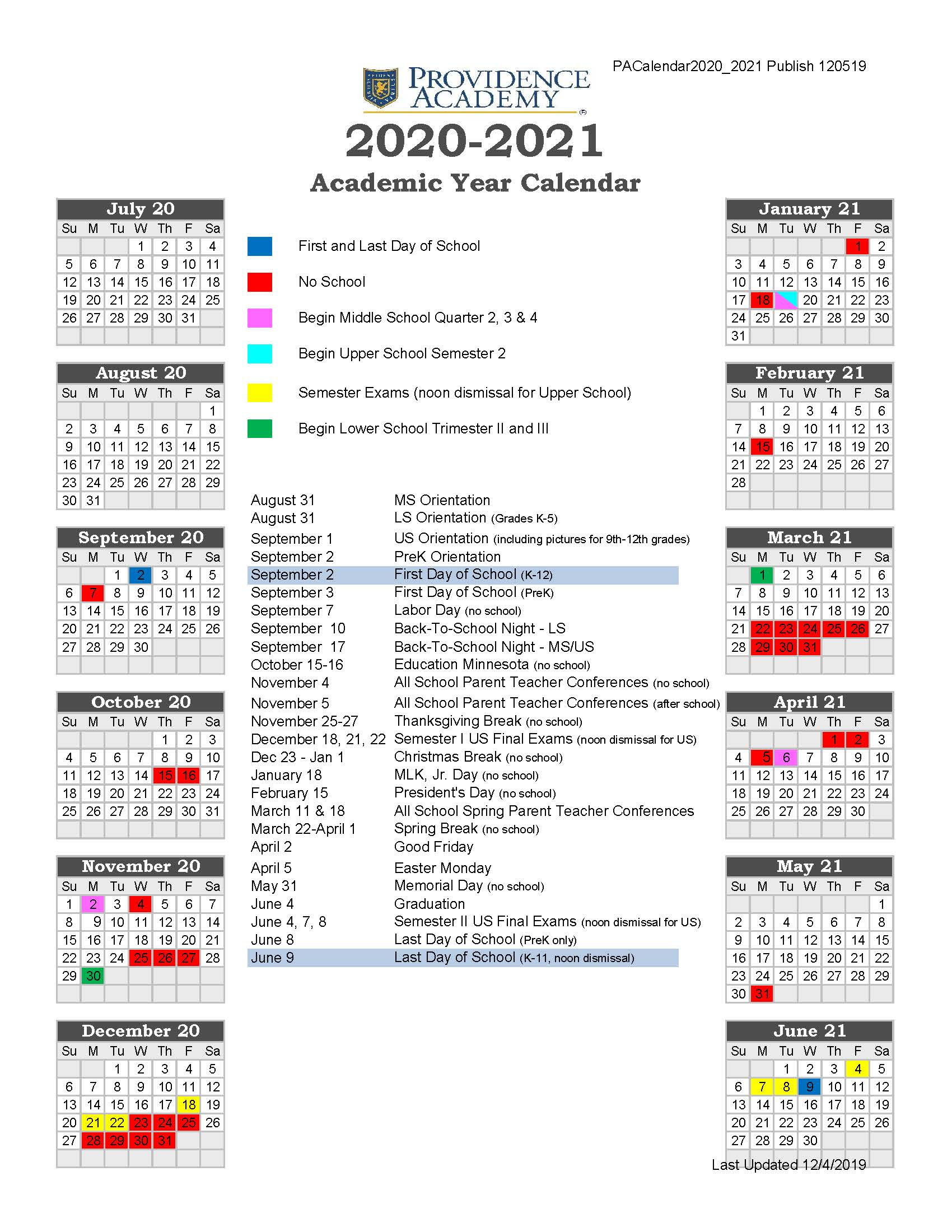 19 20 Providence Academy Academic Calendar 2020 2021 Intended For U Of M Twin Cities 2020 2021 Calendar