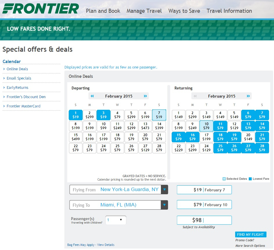 $19-$29 -- Last-Minute Frontier Sale (Each Way) | Fly for Frontier Low Fare Calendar Flights