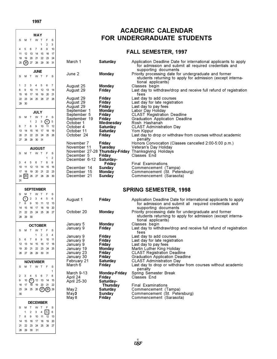 1997/1998 Undergraduate Academic Calendarusf With Regard To University Of South Florida Academic Calendar Downloadable