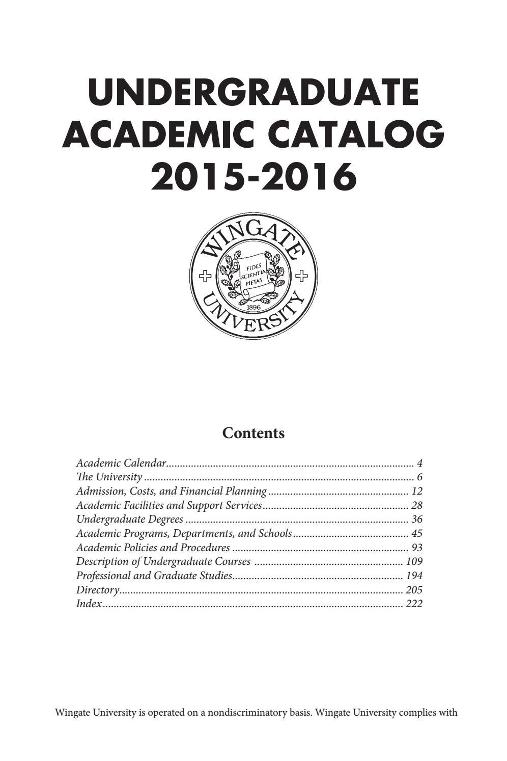 2015 16 Undergraduate Catalogwingate University - Issuu Intended For Delaware University Academic Calendar