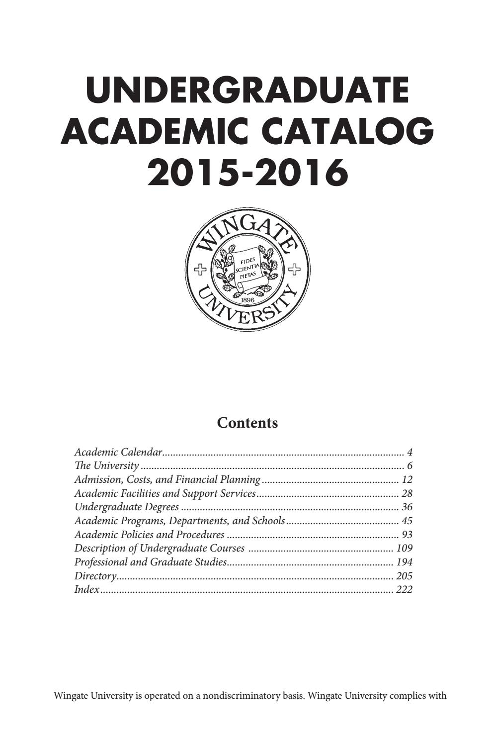 2015 16 Undergraduate Catalogwingate University – Issuu With Regard To Academic Calendar Humboldt State University
