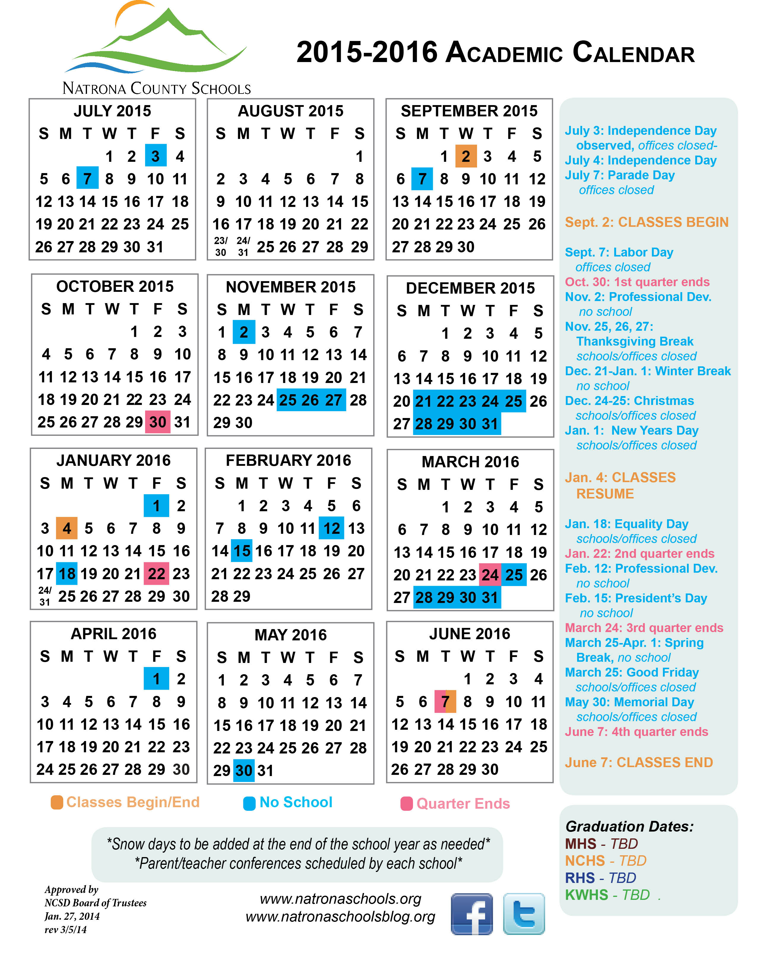 2015 2016 Academic Calendar | Natrona Schools – Our Kids With University Of Wyoming Academic Calendar