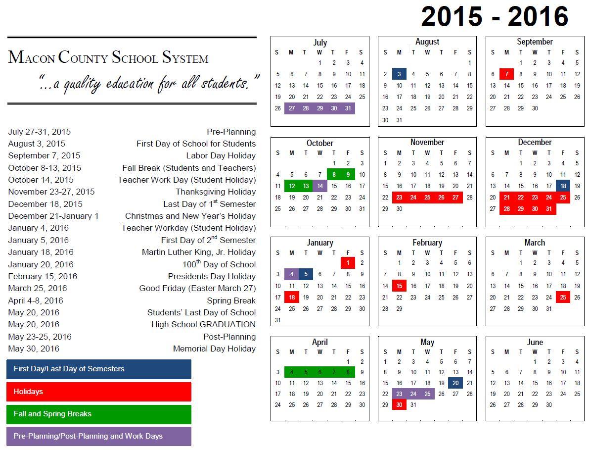 2015 2016 School Calendar – Macon County School System Throughout Bibb County Board Of Eduacation Calendar