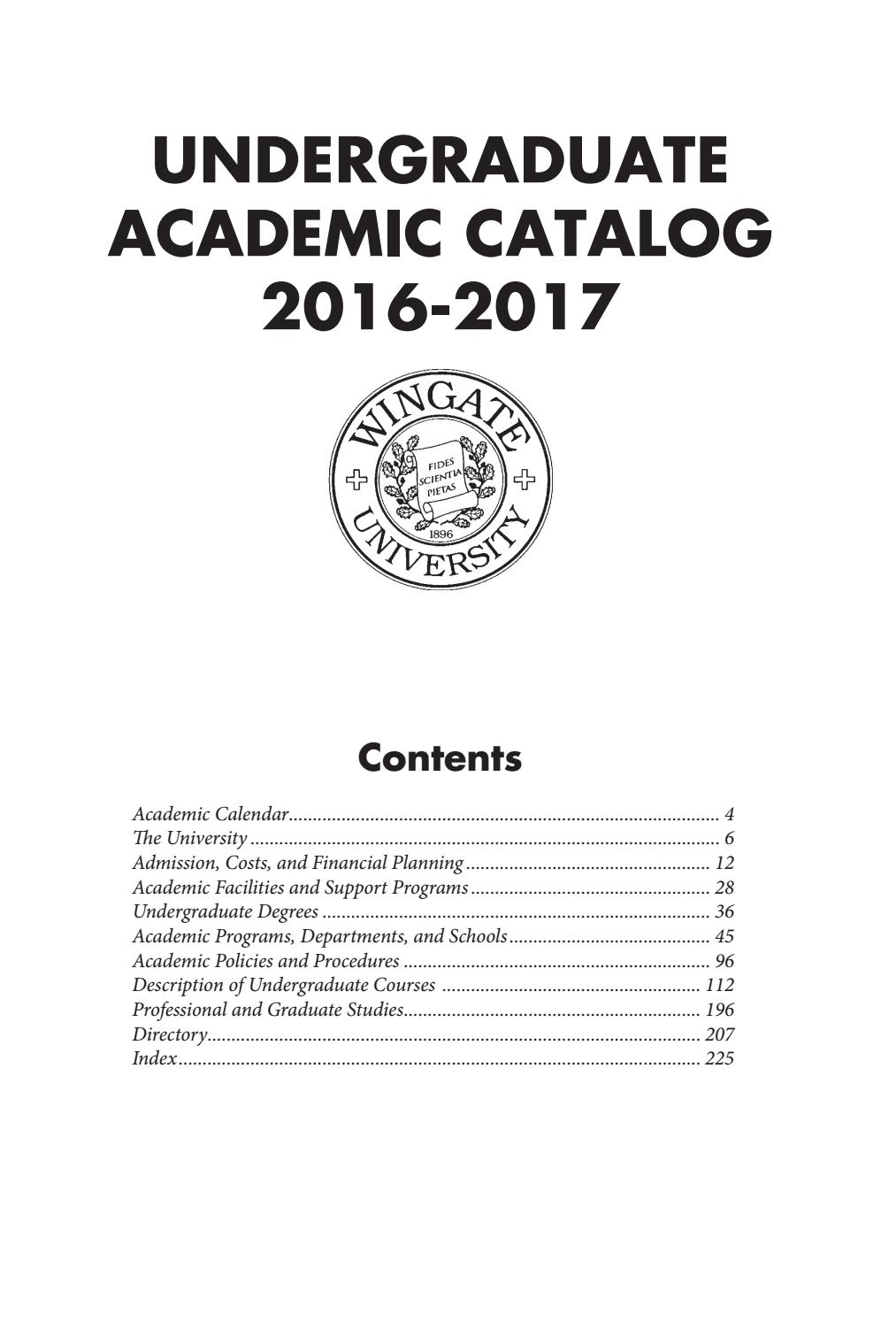 2016 17 Undergraduate Catalogwingate University - Issuu For East Carolina University Holiday Calendar