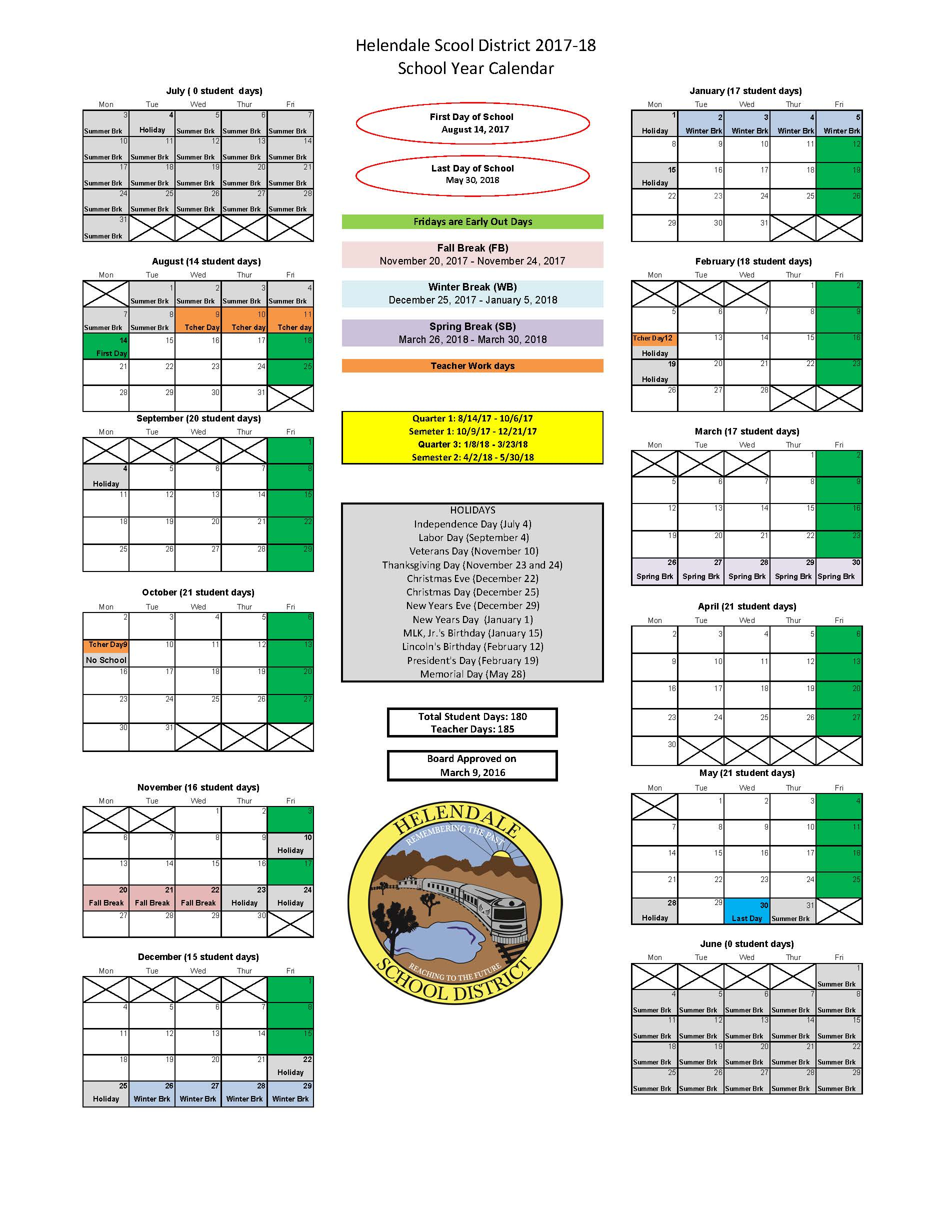 2016-2017; 2017-2018; 2018-19 District Calendar - Helendale in Victorville School District Calendar