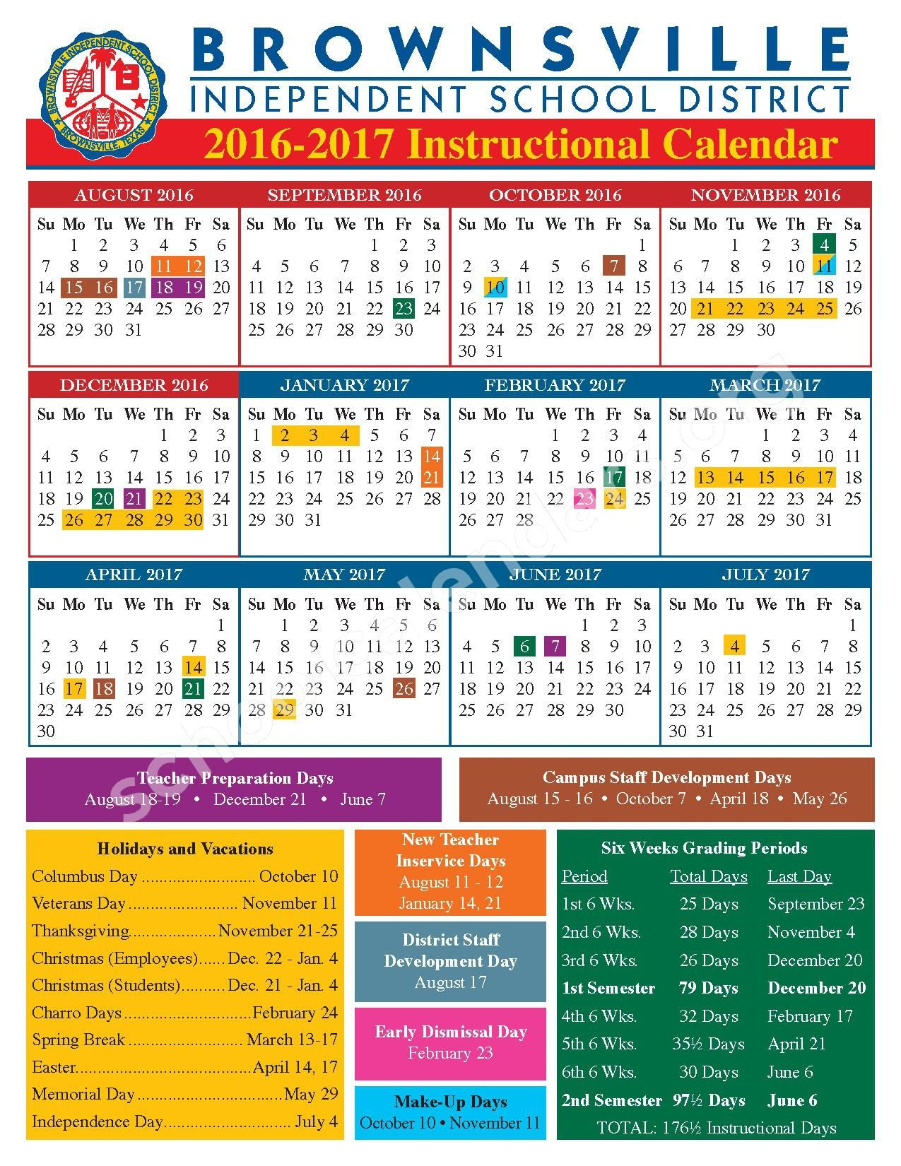 2016 – 2017 Academic Calendar – Brownsville Independent In Brownsville Independent School District Calendar