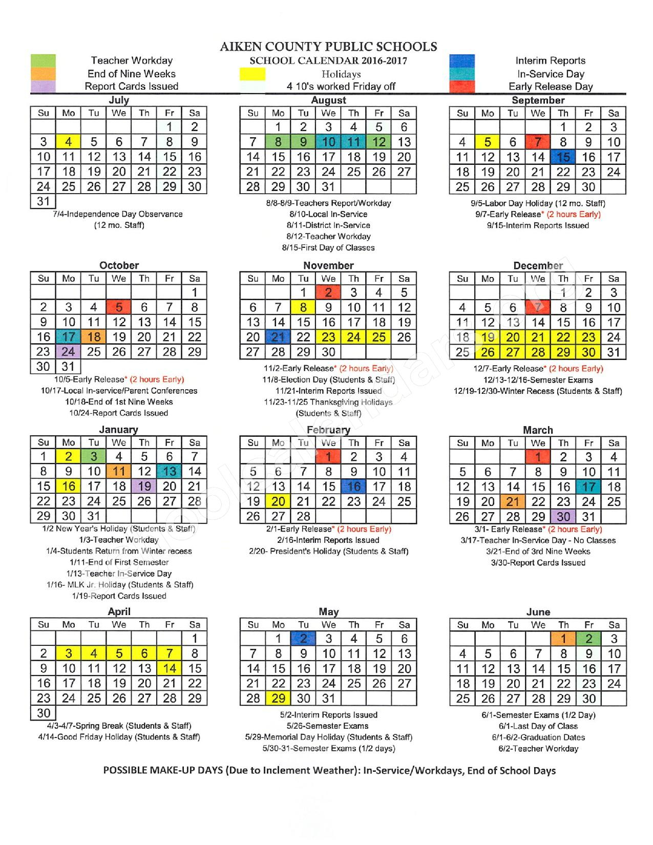 2016 – 2017 District Calendar | Aiken County School District For Aiken County Schools Calendar