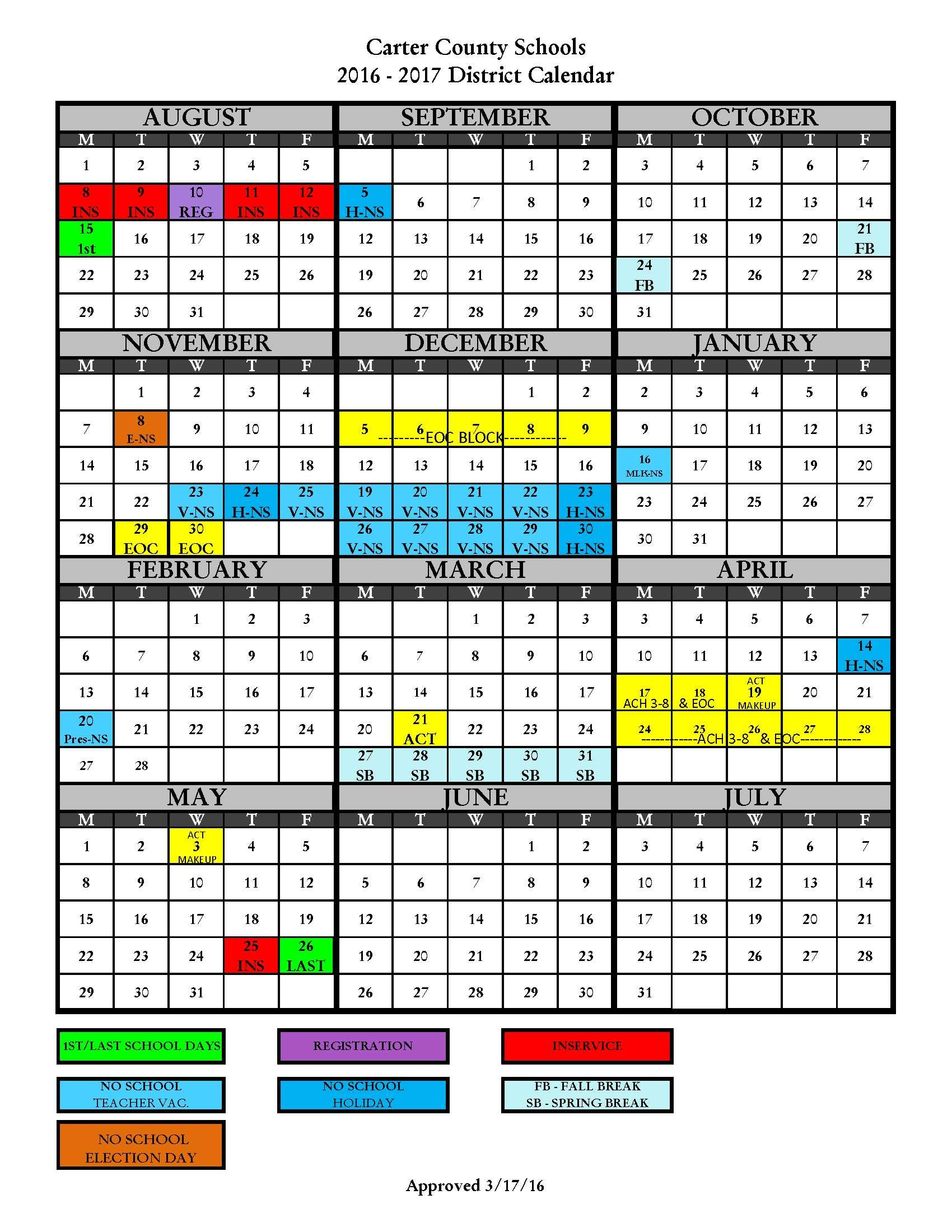 2016-2017 District Calendar - Carter County Schools intended for Alachua School Board Calendar