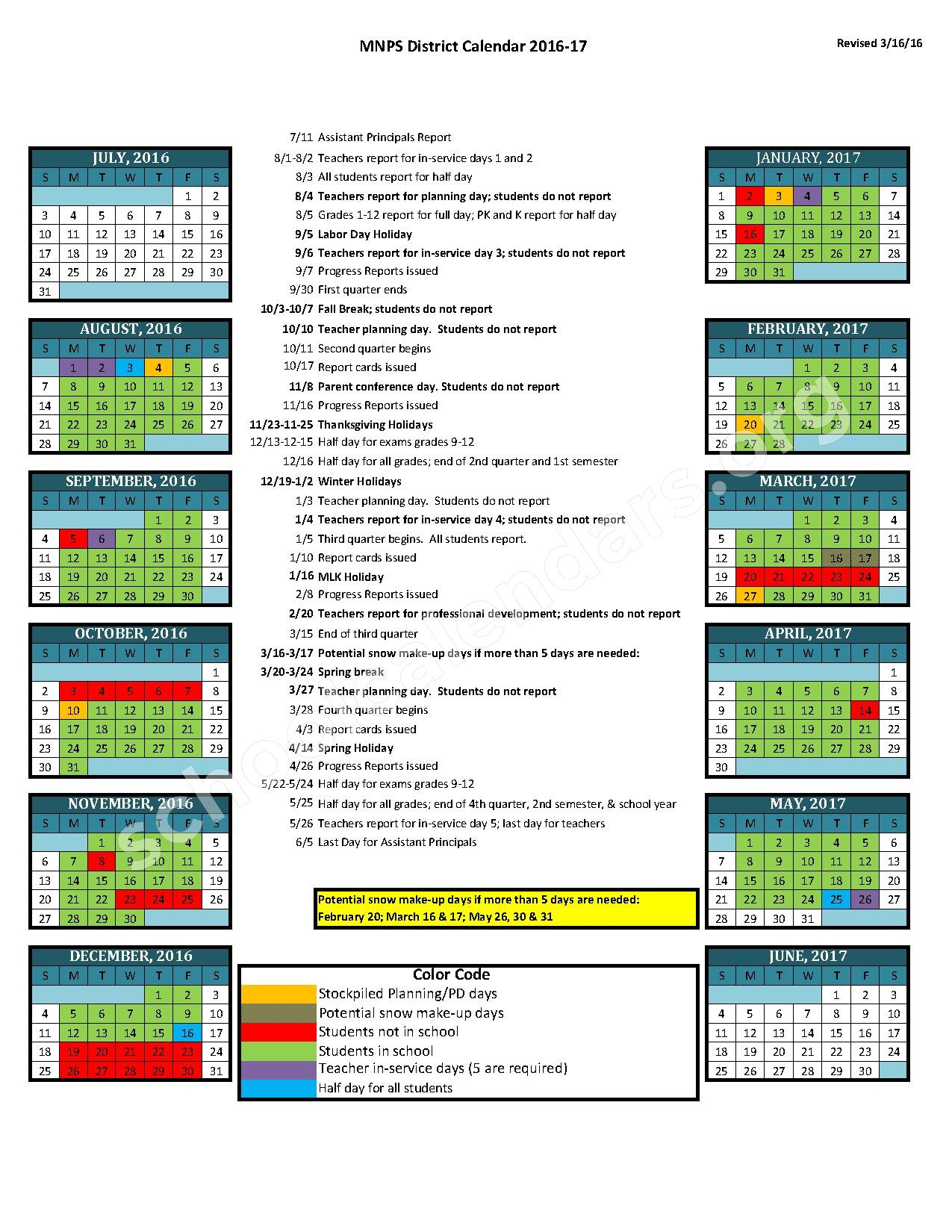 2016 - 2017 District Calendar | Davidson County Schools for Davidson County Tn School Calender