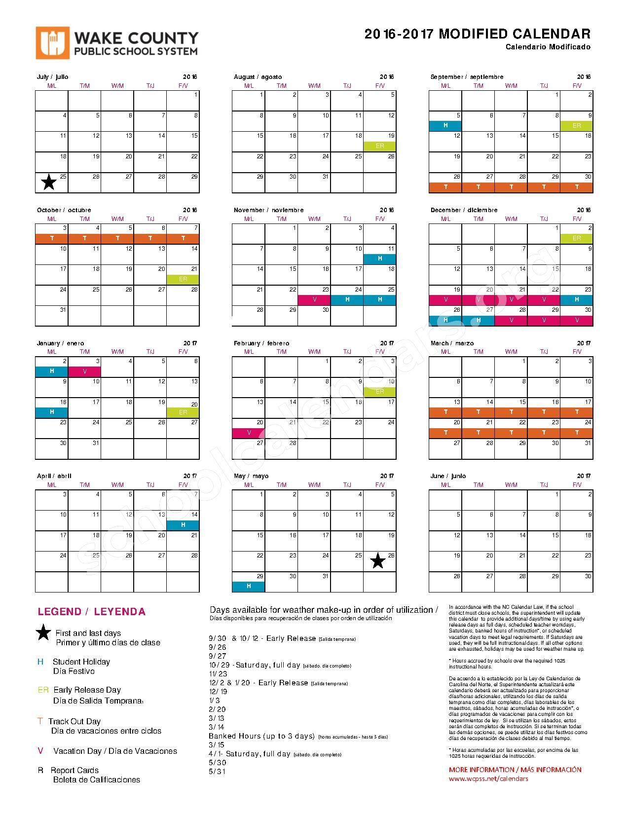 2016 - 2017 Modified Calendar | Wake County Public School With Wake County School System Calendars