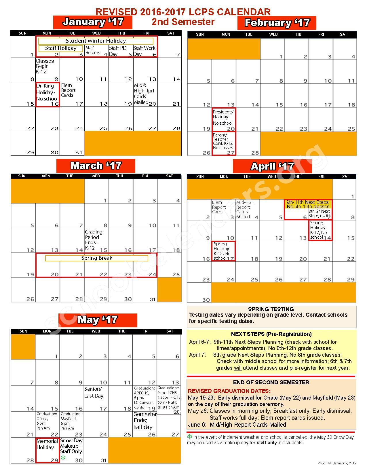2016 - 2017 School Calendar | Las Cruces Public Schools Throughout Las Cruces Public Schools Calendar
