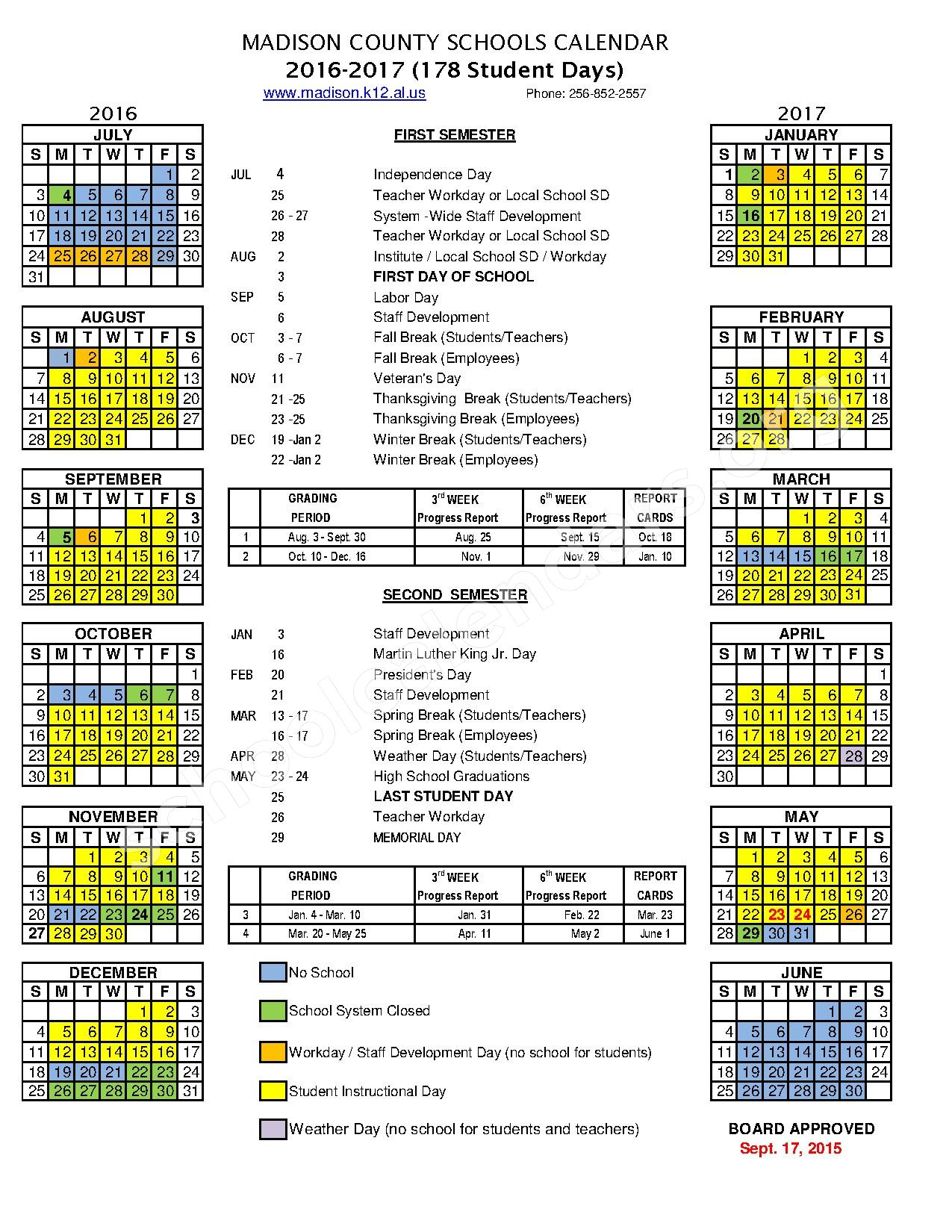 2016 – 2017 School Calendar | Madison County Schools Within Madison County Schools School Year Calendar