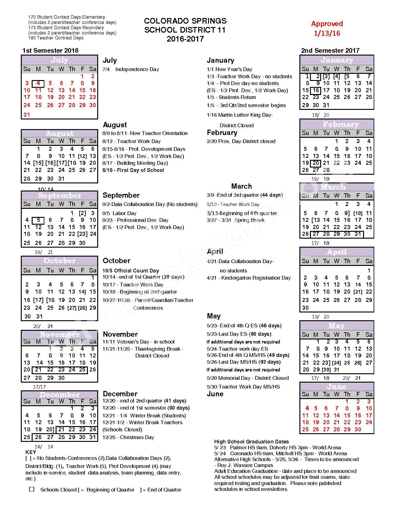2016 – 2017 School Year Calendar | Colorado Springs School Regarding District 20 Colorado Springs Calendar