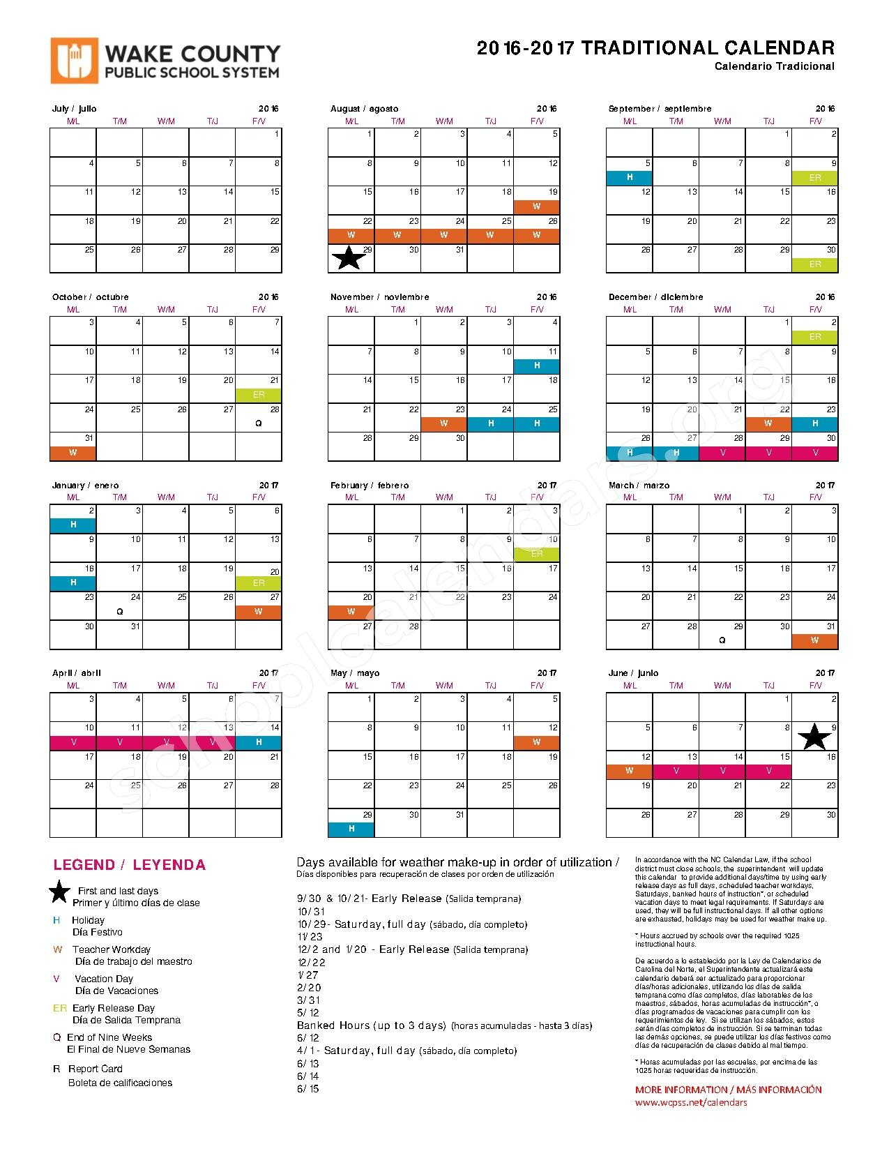 2016 - 2017 Traditional Calendar | Wake County Public School intended for Wake County School System Calendars