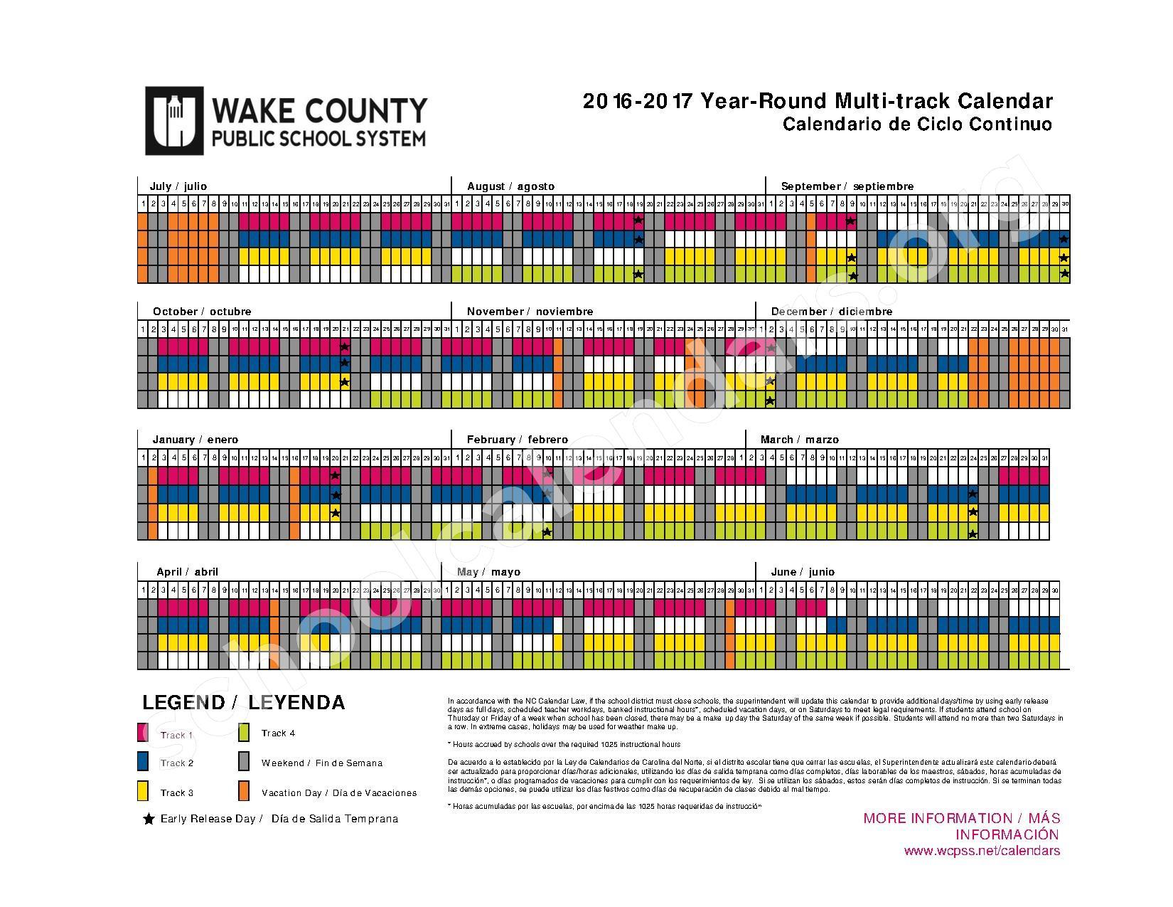 2016 - 2017 Year Round Calendar | Wake County Public School Inside Wake County School System Calendars