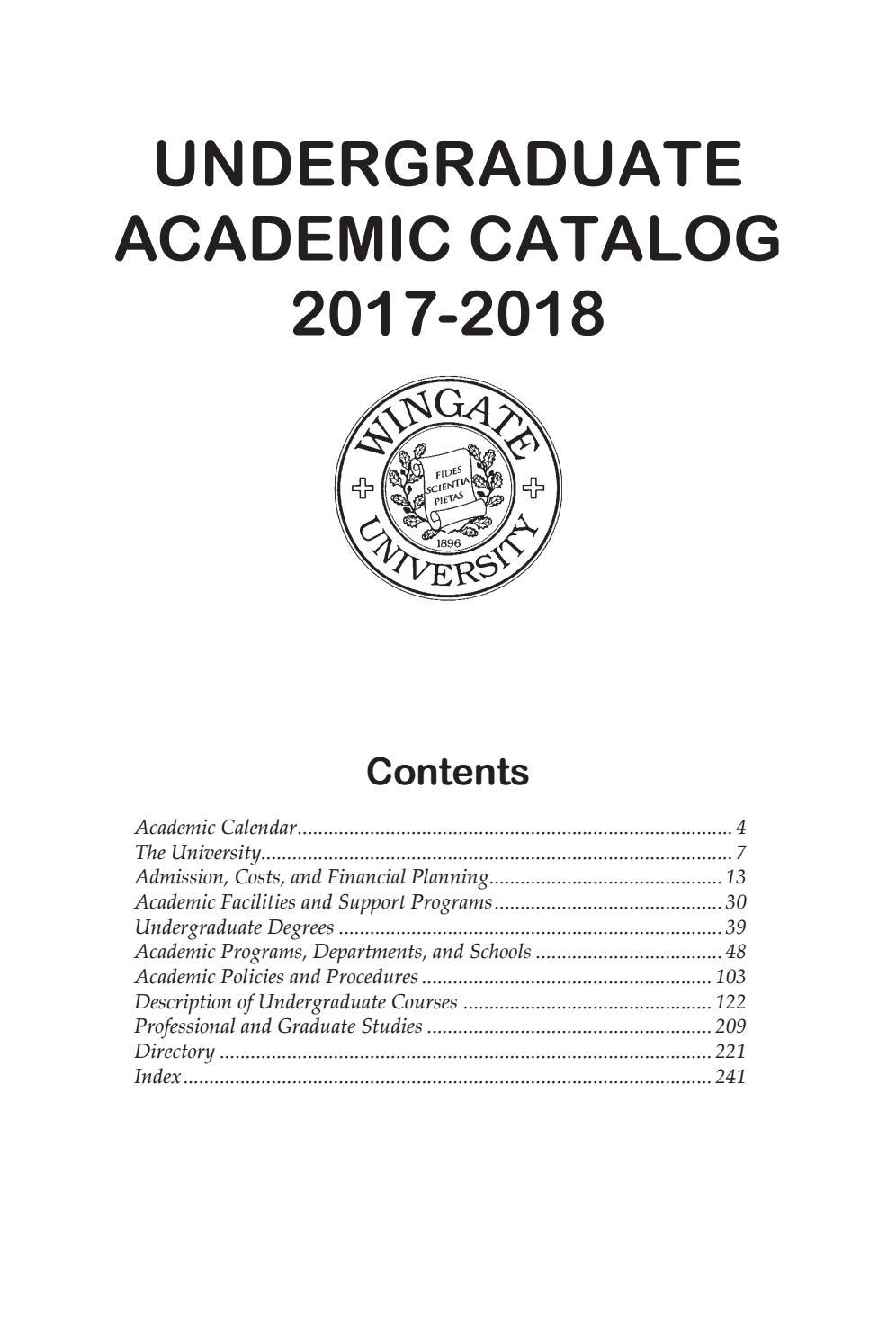 2017 18 Undergraduate Catalogwingate University – Issuu For University Of Akron Holiday Calendar