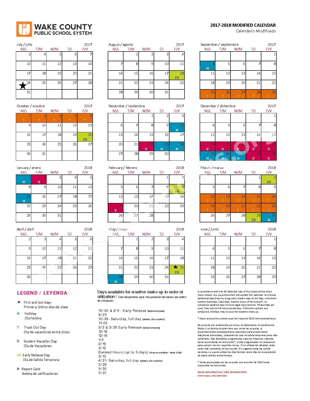 2017 - 2018 Modified Calendar | Wake County Public School With Wake County School System Calendars