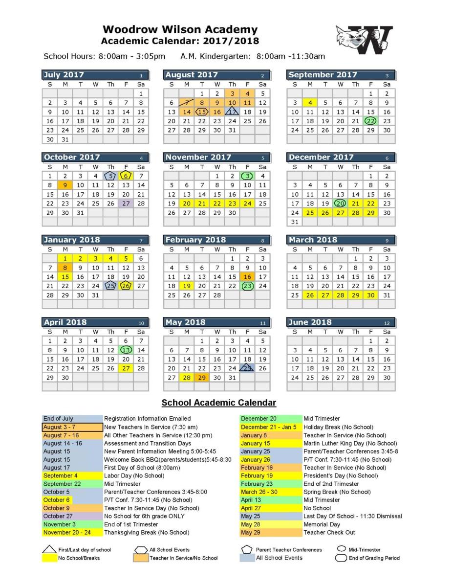 2017 2018 School Calendar - Woodrow Wilson Academy Inside Jefferson County Colorado School Calendar