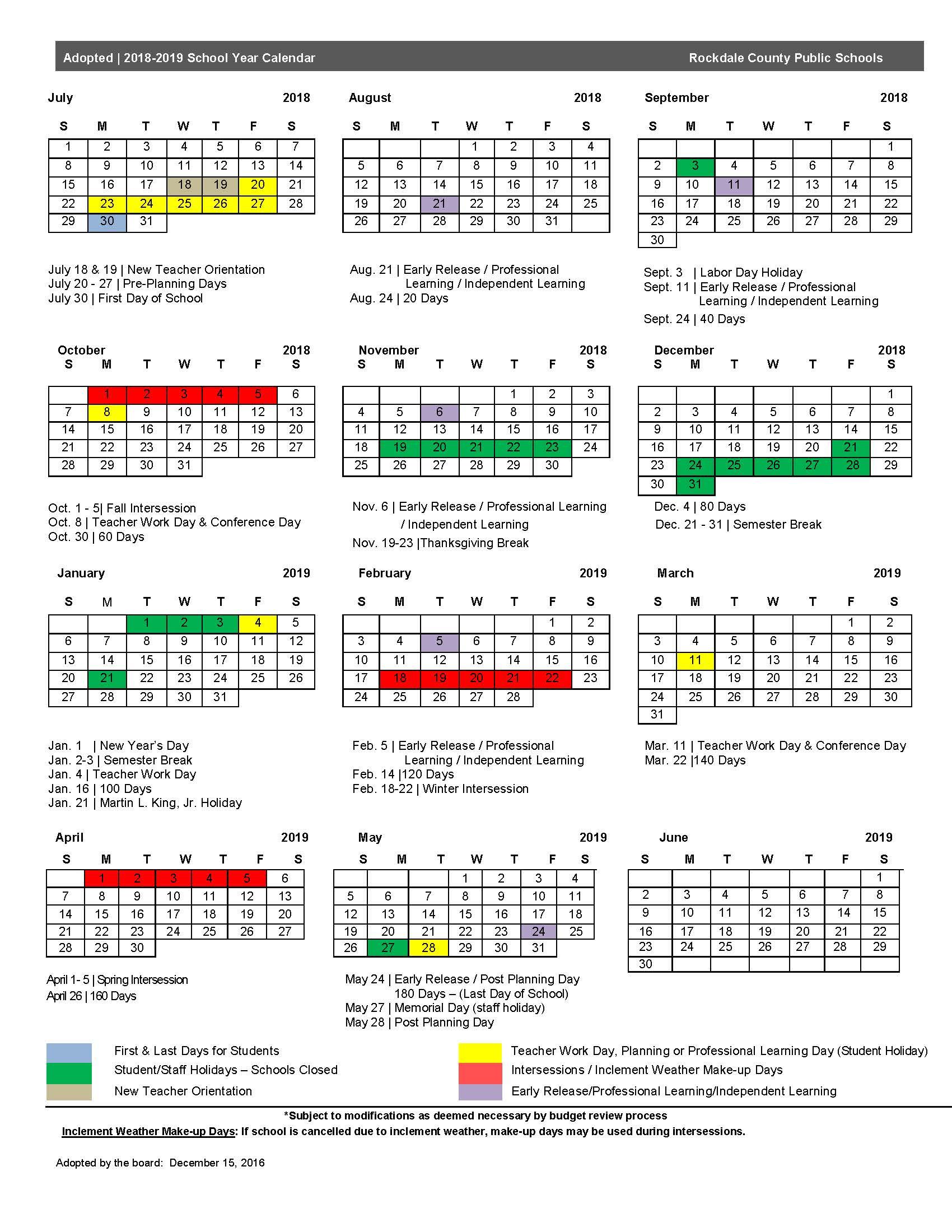2018 19 Calendar – Rockdale County Public Schools Regarding Dare County School Calendar