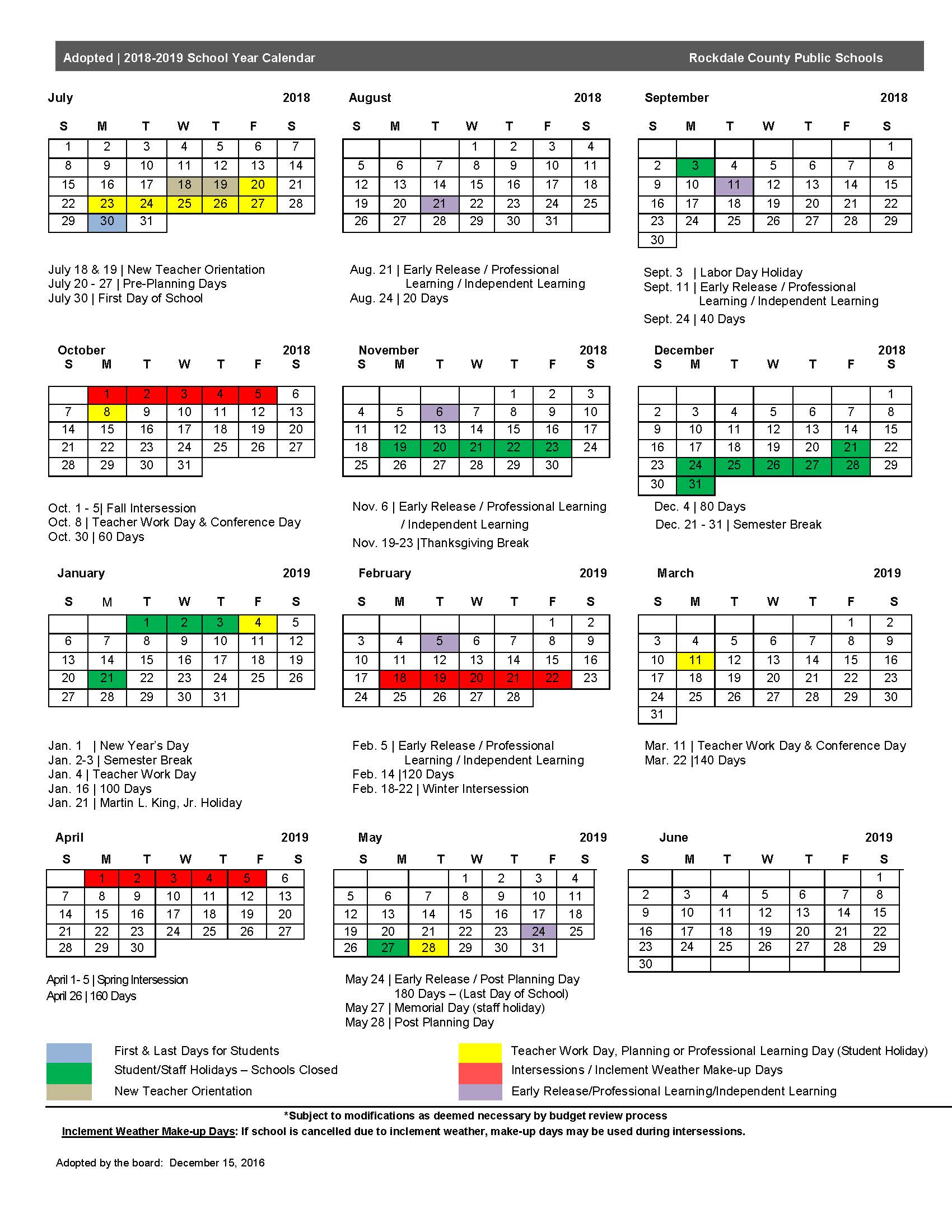 2018 19 Calendar – Rockdale County Public Schools Within Martin County School District Calendar