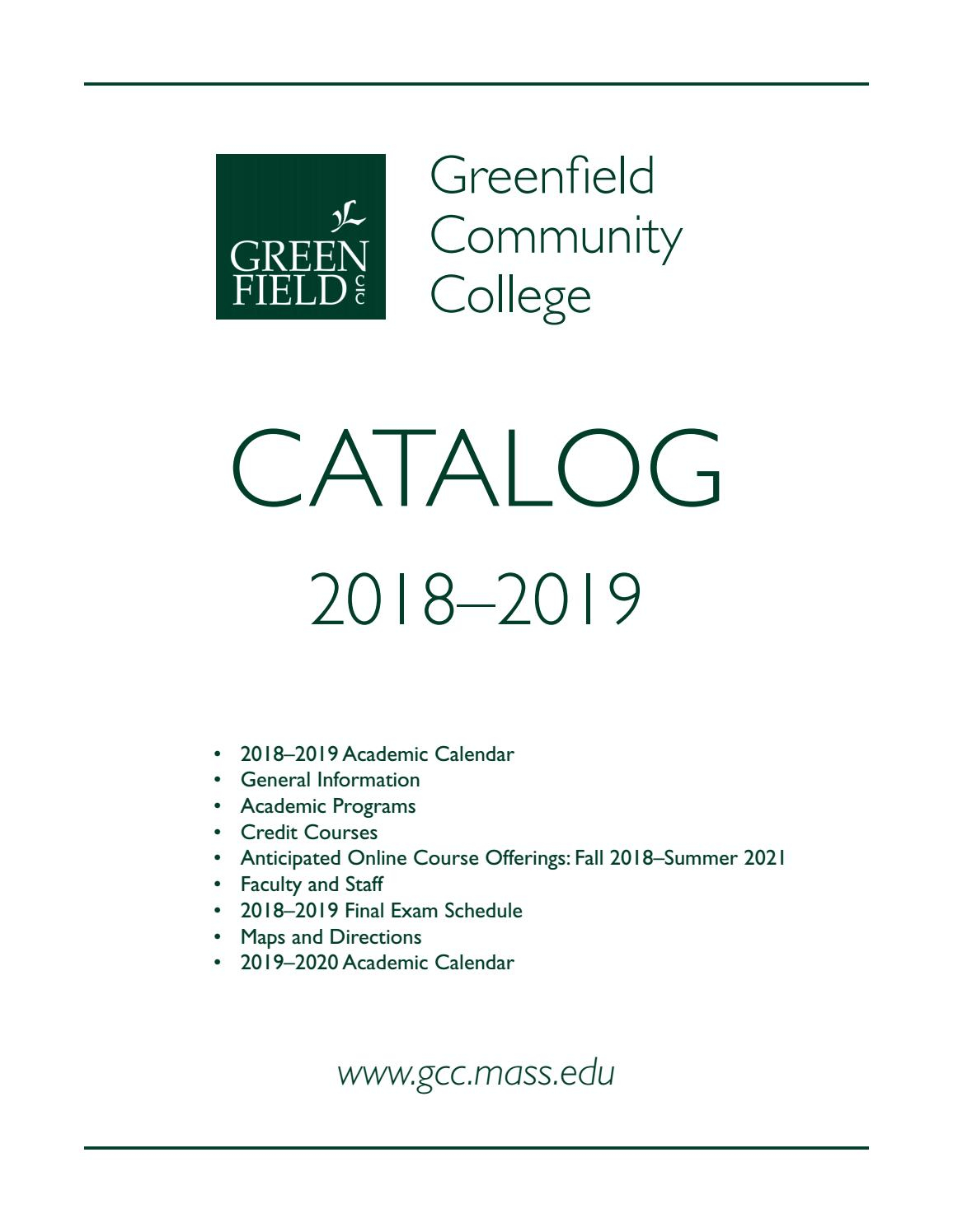 2018 19 Gcc Cataloggreenfield Community College – Issuu For Academic Calendar Suffolk Community College