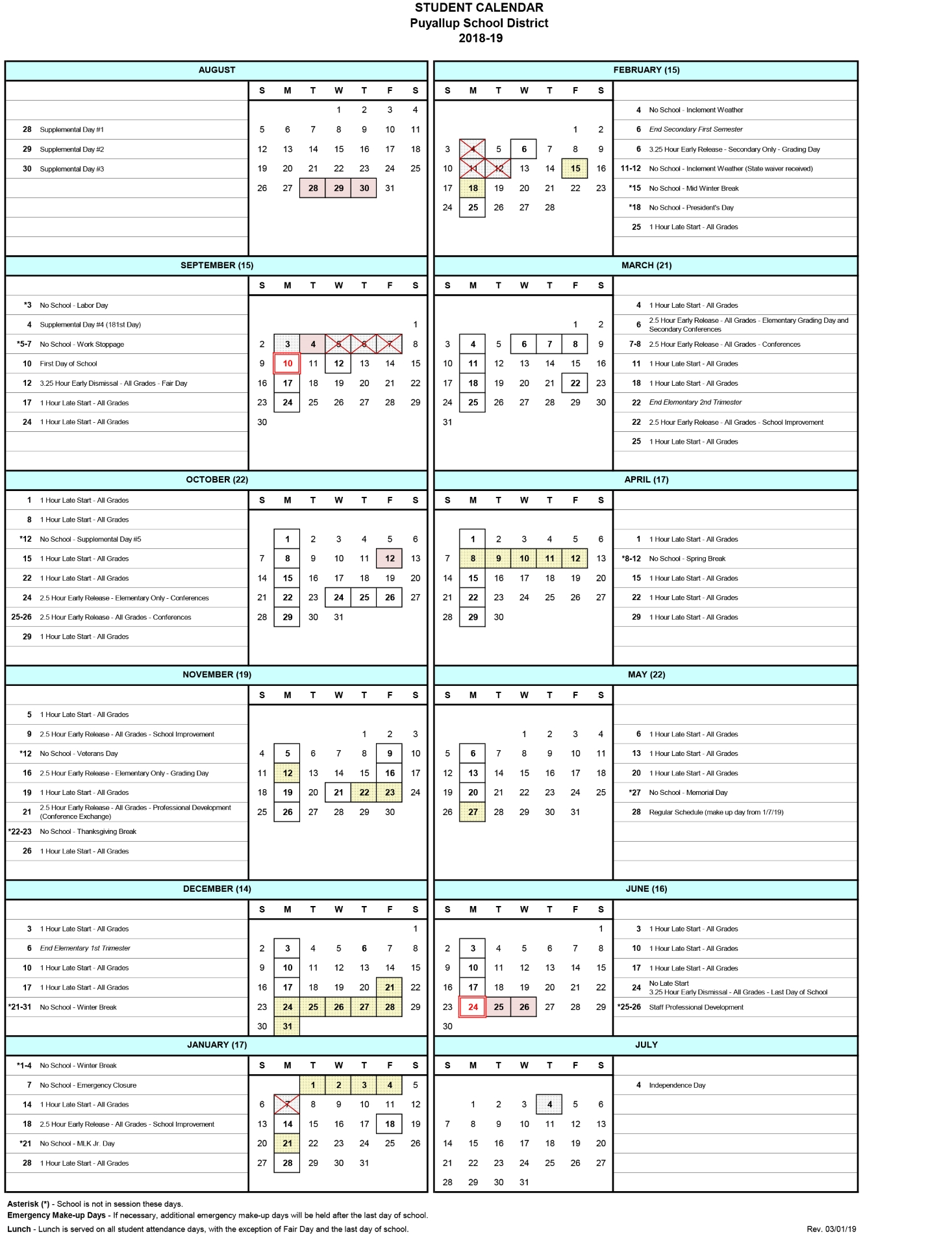 2018 19 Student Calendar Revision - Puyallup School District Within Wake Tech Calendar 2021