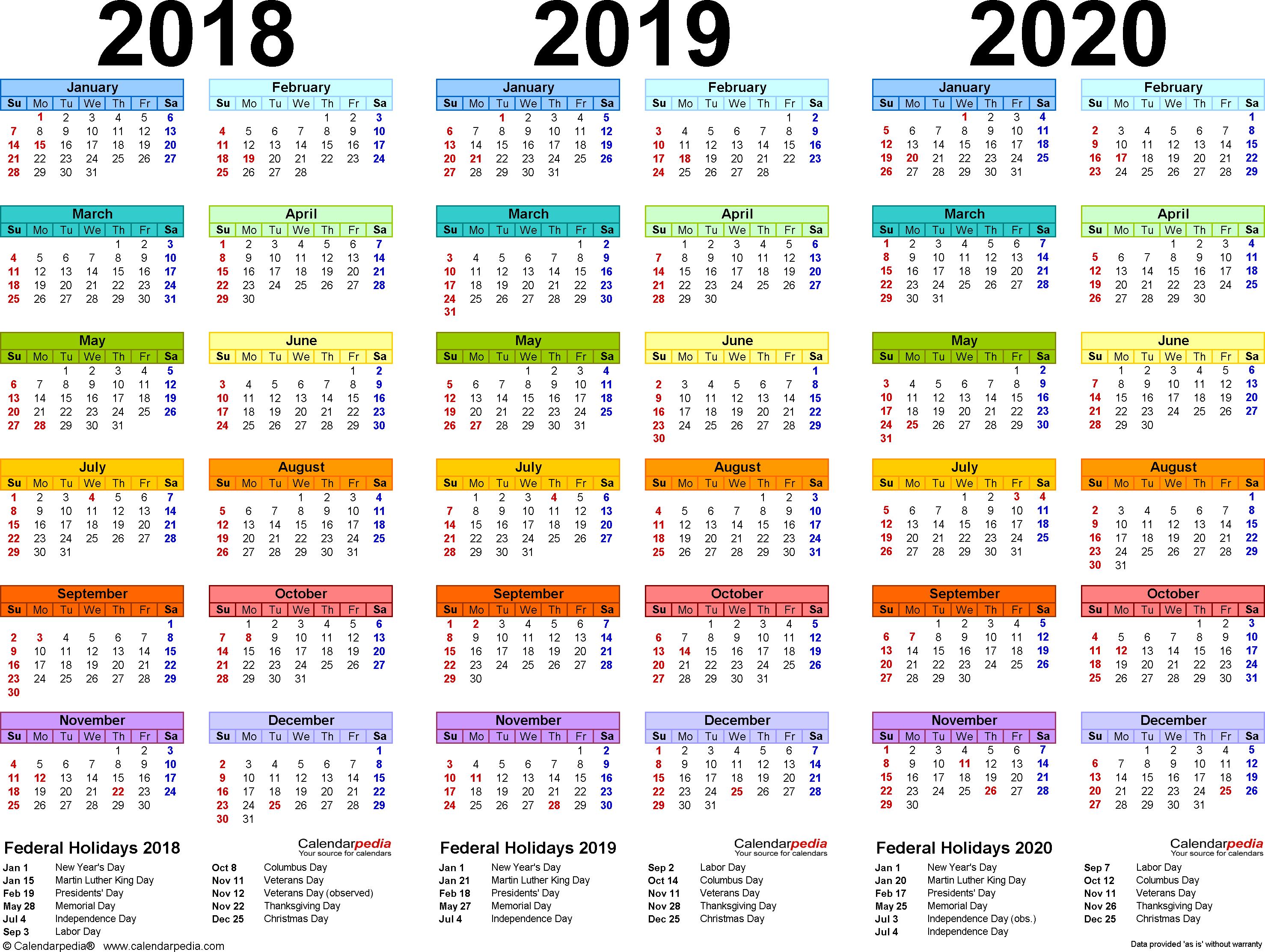 2018/2019/2020 Calendar – 4 Three Year Printable Pdf With Regard To Metro Nashville Public Schools Calendar 2021