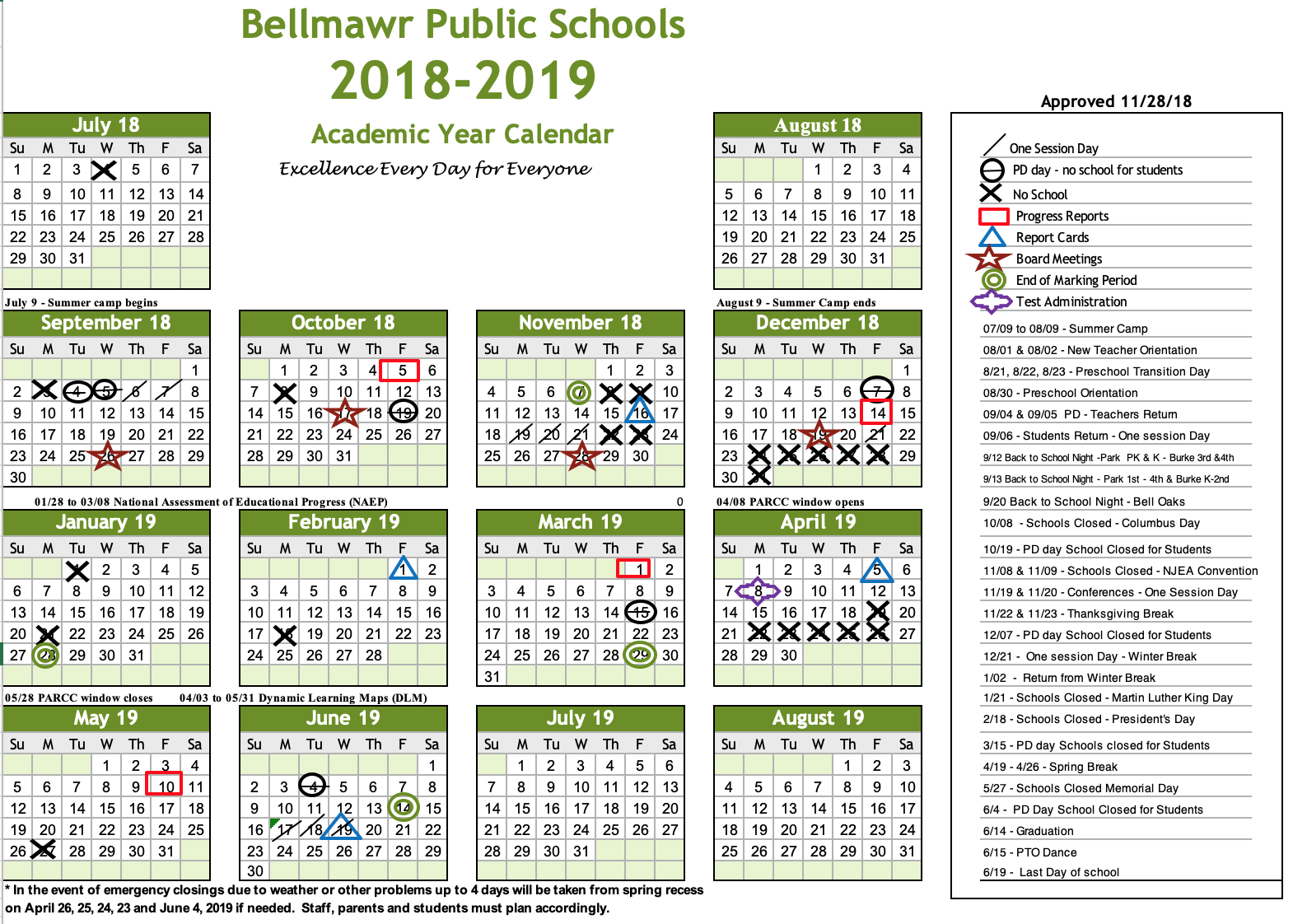 2018 – 2019 Calendar – Bellmawr Public School District For Boyertown School Calander