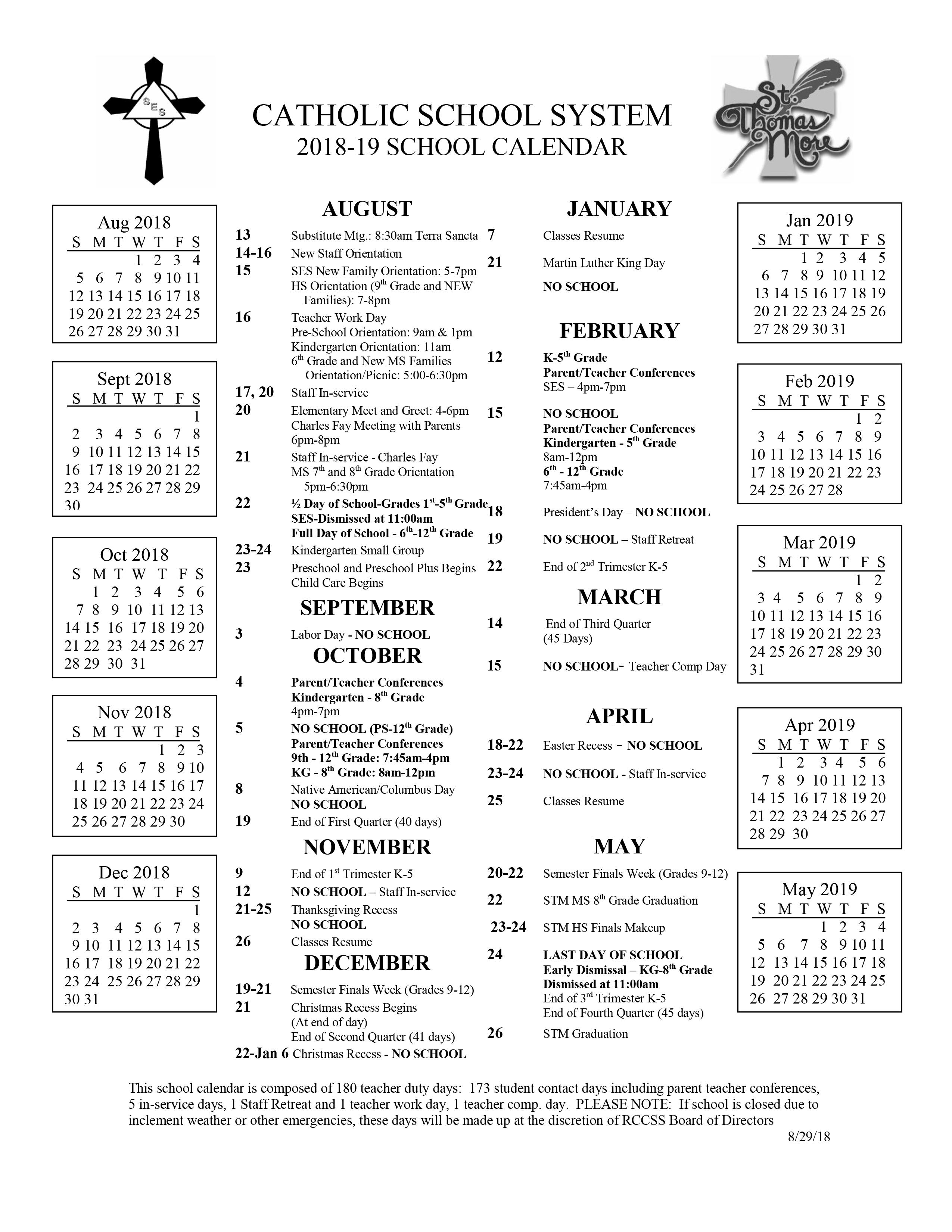 2018 2019 District Calendar – Rccss With Rapid City School District Schedule