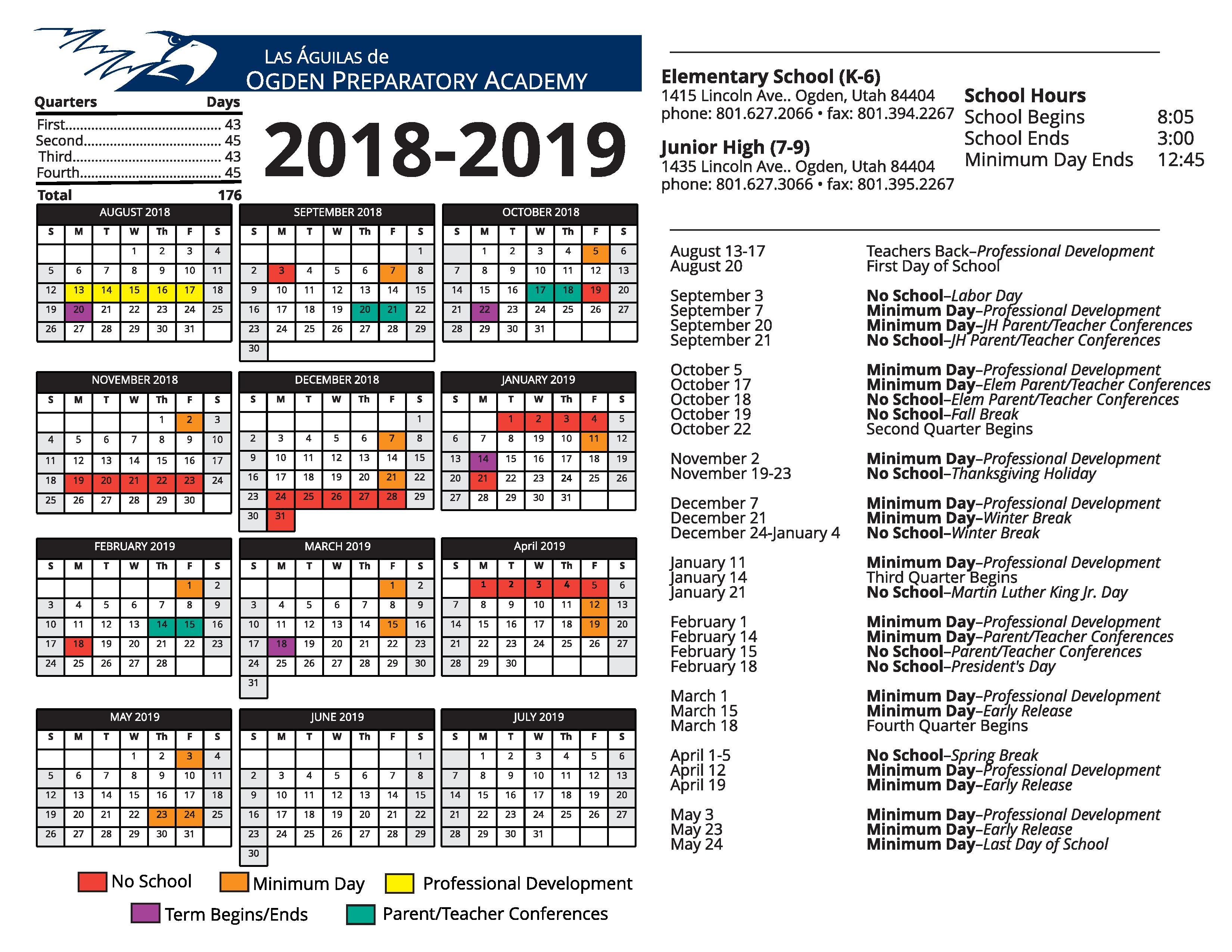 2018 2019 Opa School Calendar – Ogden Preparatory Academy Intended For Weber County School District Calendar