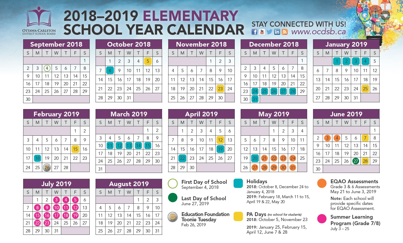 2018 2019 School Year Calendar Approved – Ottawa Carleton For Spring Valley Ny Hs Calendar