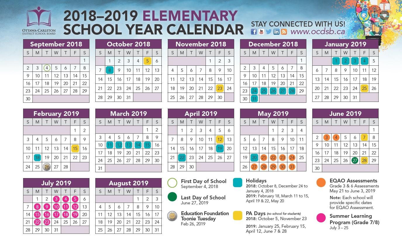2018 2019 School Year Calendar Approved - Ottawa Carleton Regarding West Ottawa School Calendar
