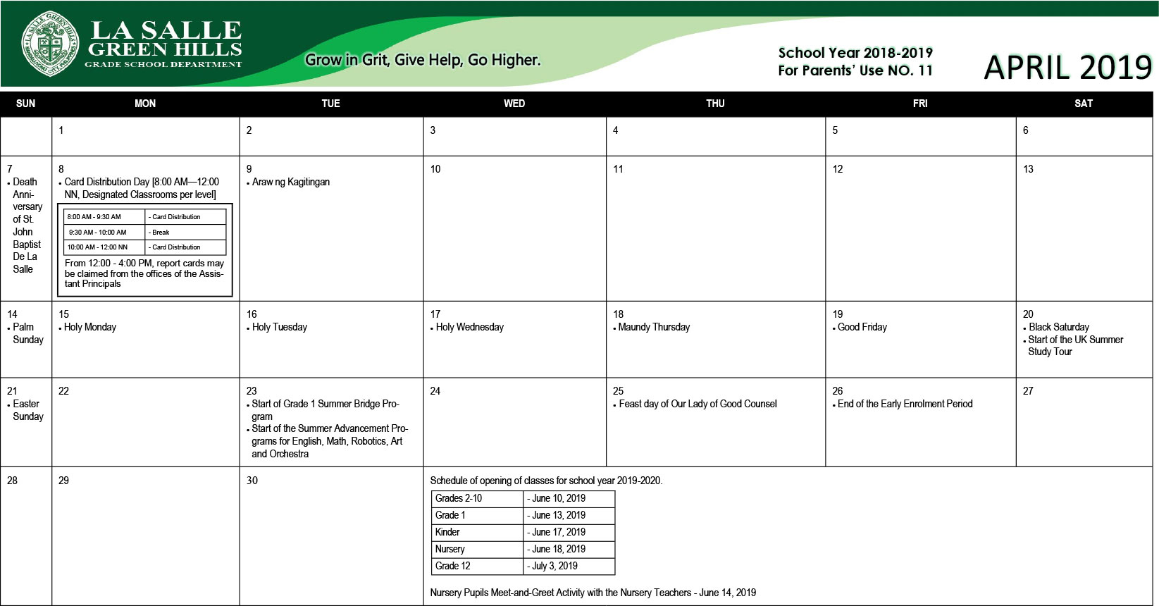 2018 Academic Calendar – La Salle Green Hills Grade School Within La Salle University Calander