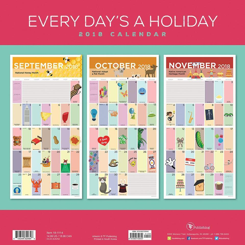 2018 Every Day's A Holiday Wall Calendar regarding Everydays A Holiday Calendar