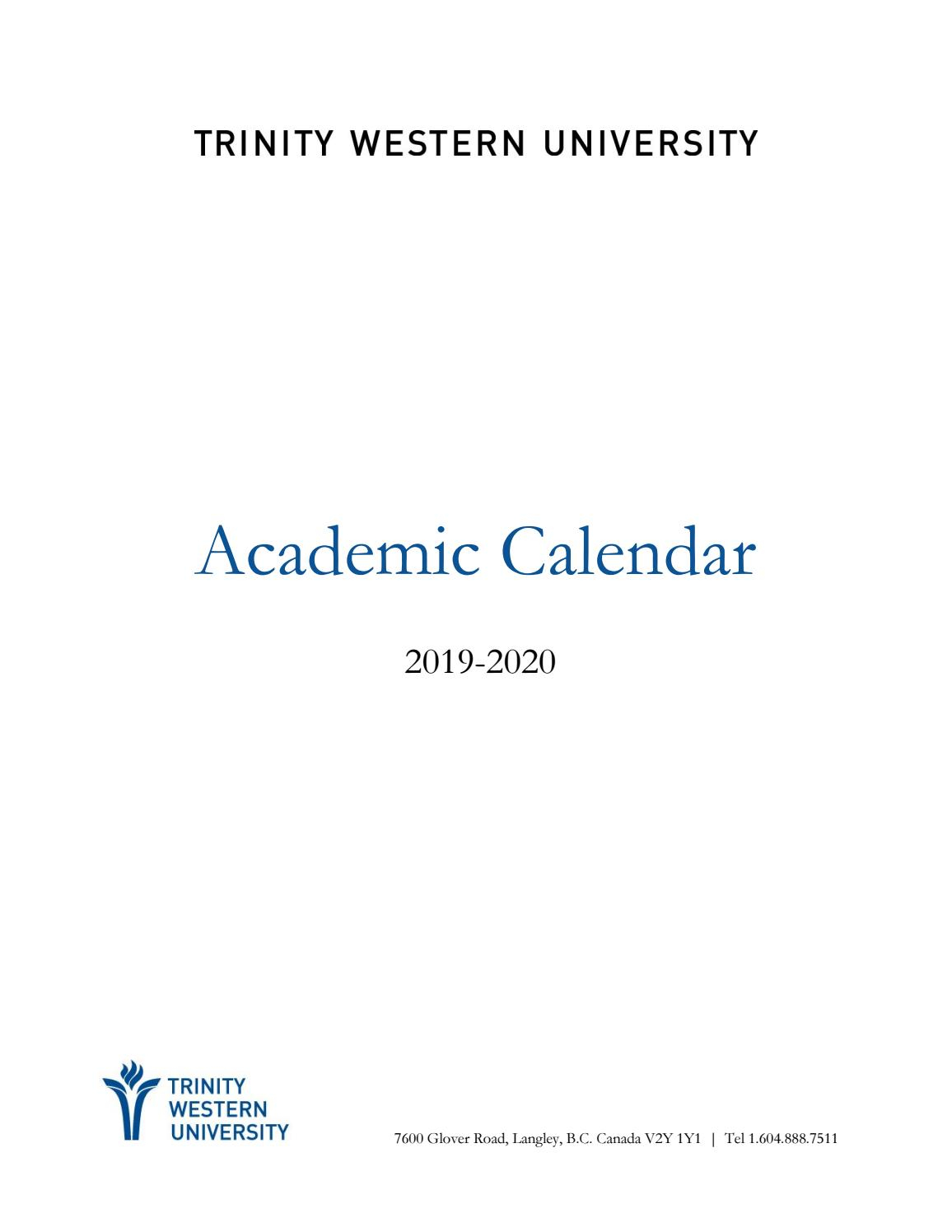 2019-20 Academic Calendartwu - Issuu for Saint Charles Communty College Calendar 2020
