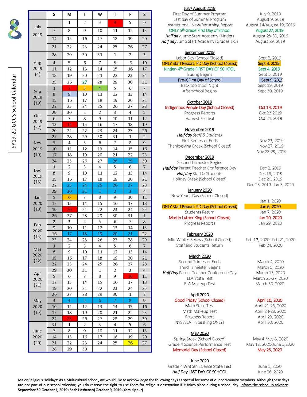 2019 20 School Calendar — Global Community Charter School Pertaining To Nassau Cc 19 20 Calendar