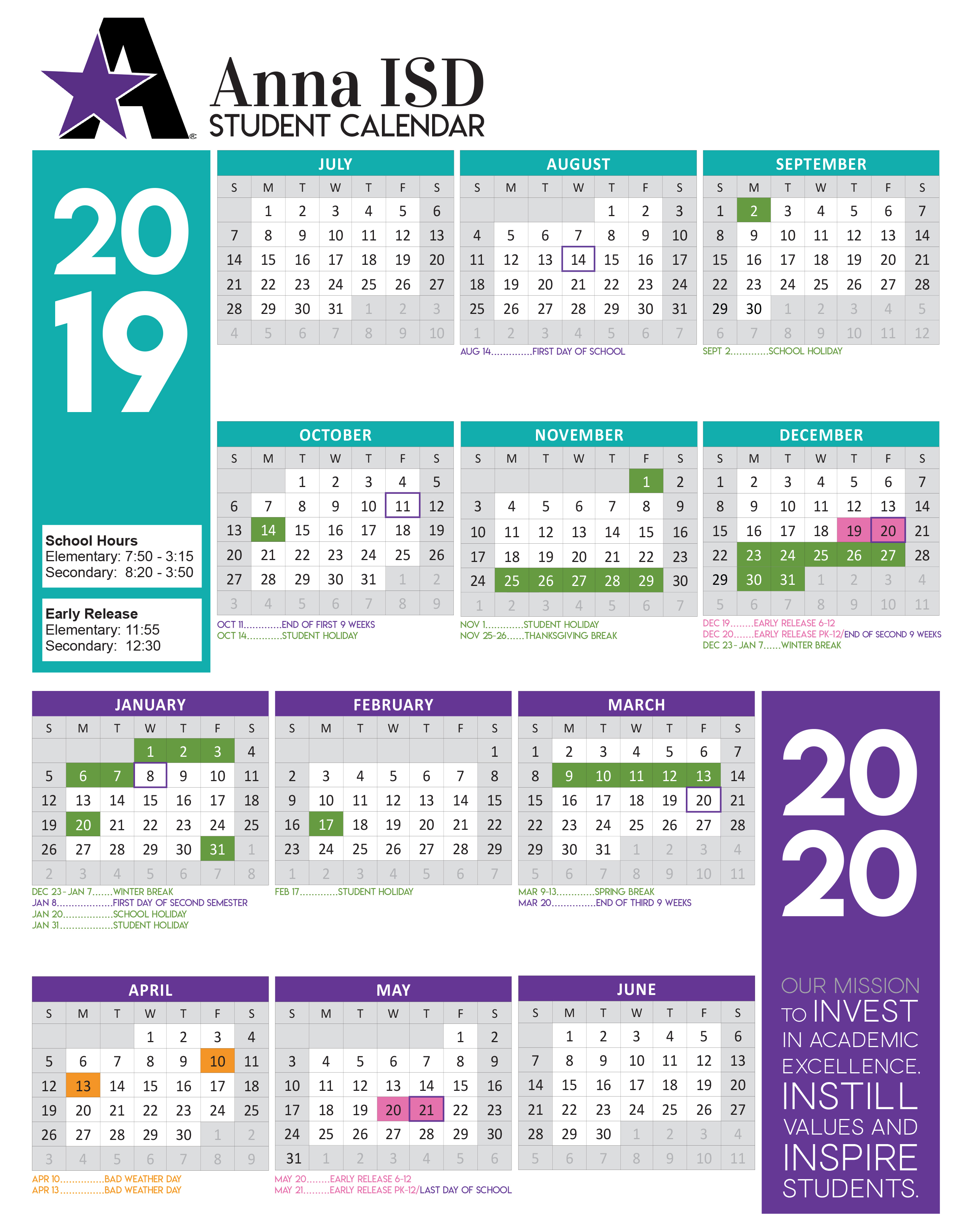 2019 2020 Academic Calendar Approved - Anna Independent Schools Pertaining To Collin County Community College District Calendar