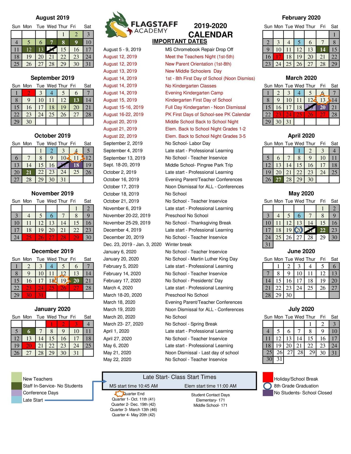 2019 2020 Academic Calendar – Grade Levels & Academics With Jefferson County Colorado Schools Calendar