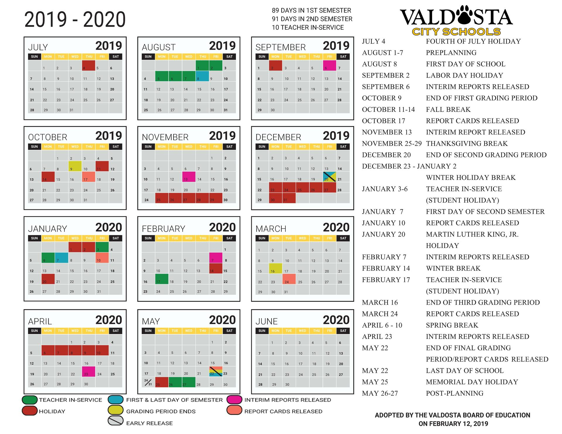 2019 - 2020 Academic Calendar – Student Support Services throughout Georgia State School Calendar 2020