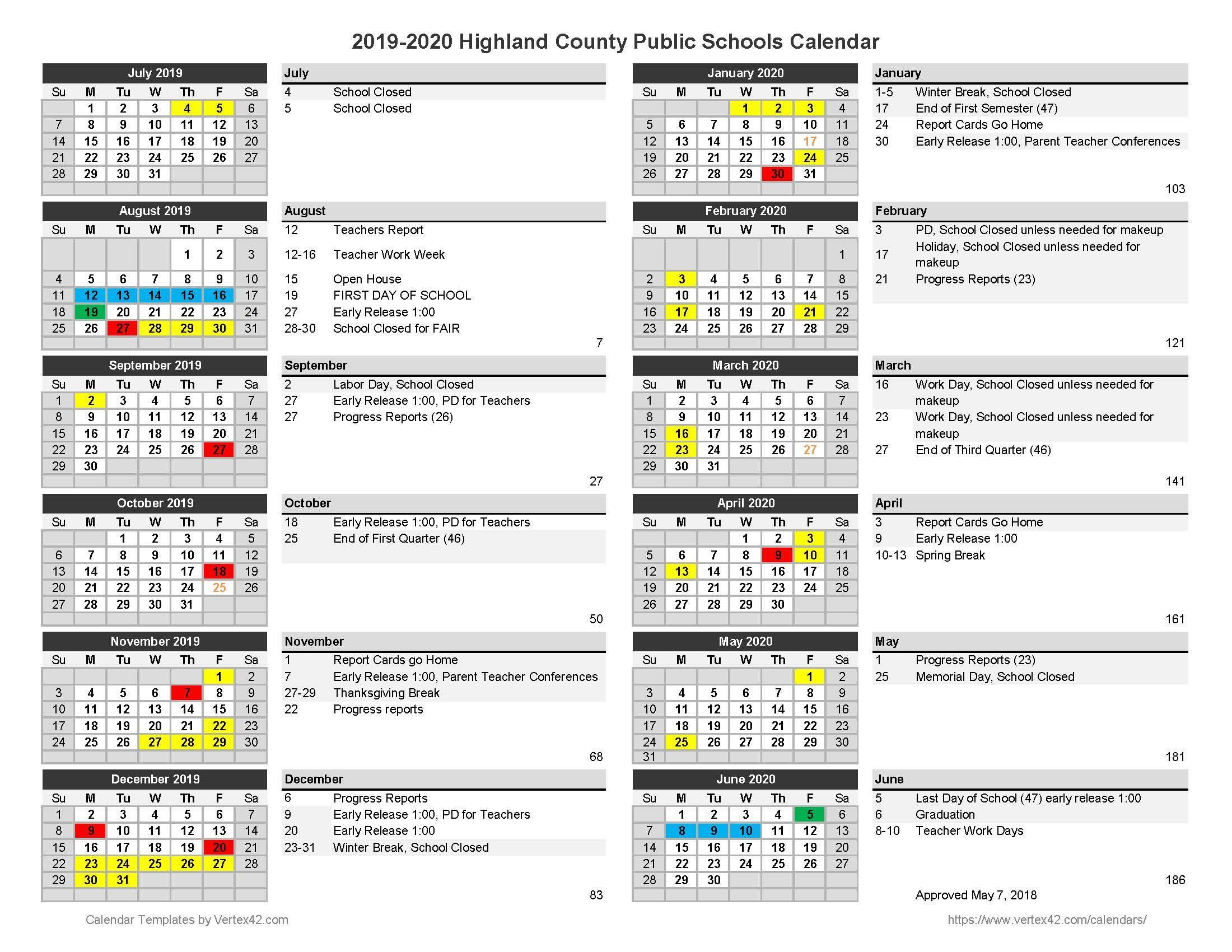 2019 2020 Approved Calendar Inside Williamsburg County School District Calendar