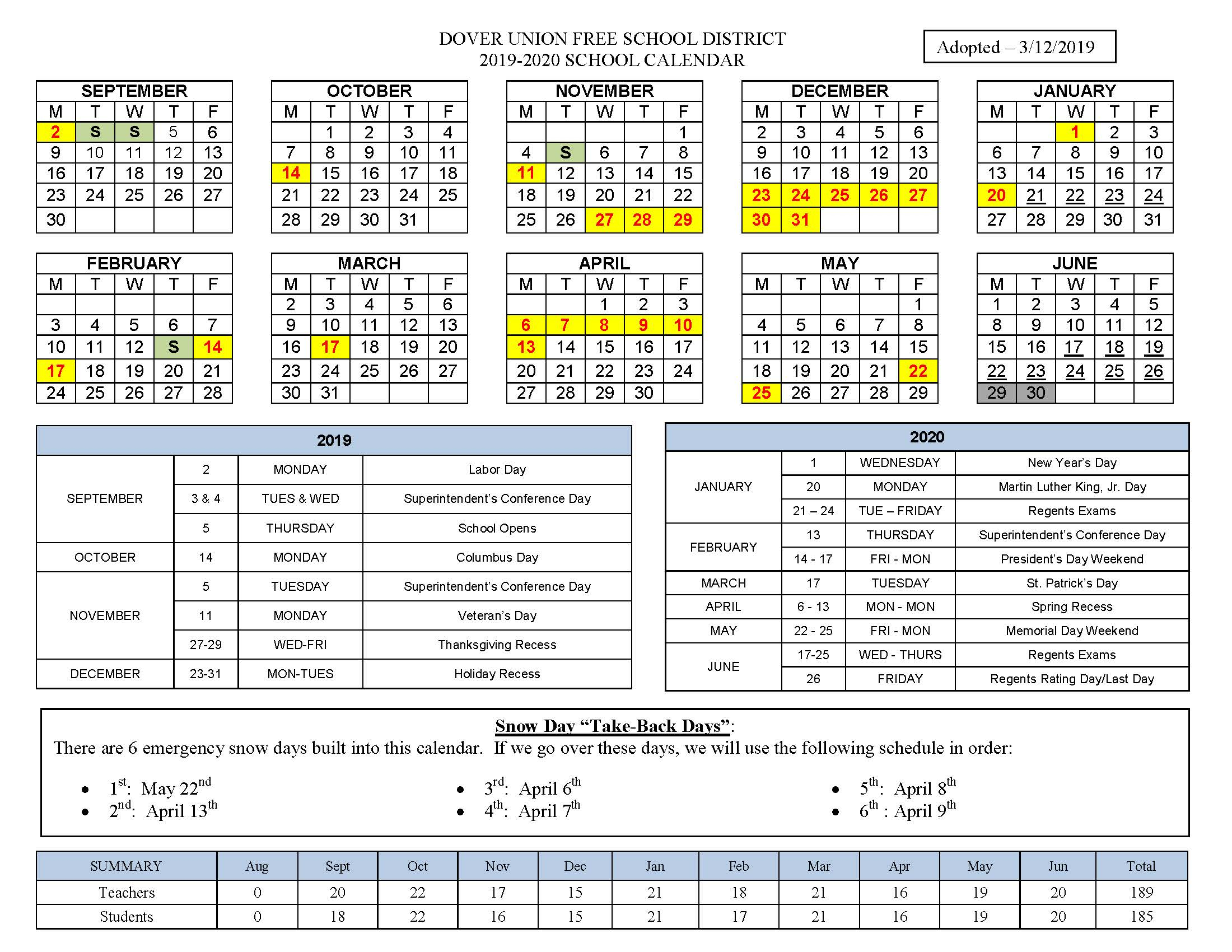 "2019 2020 ""at A Glance"" Calendar – Dover Union Free School Regarding New Canaan School Calendar"
