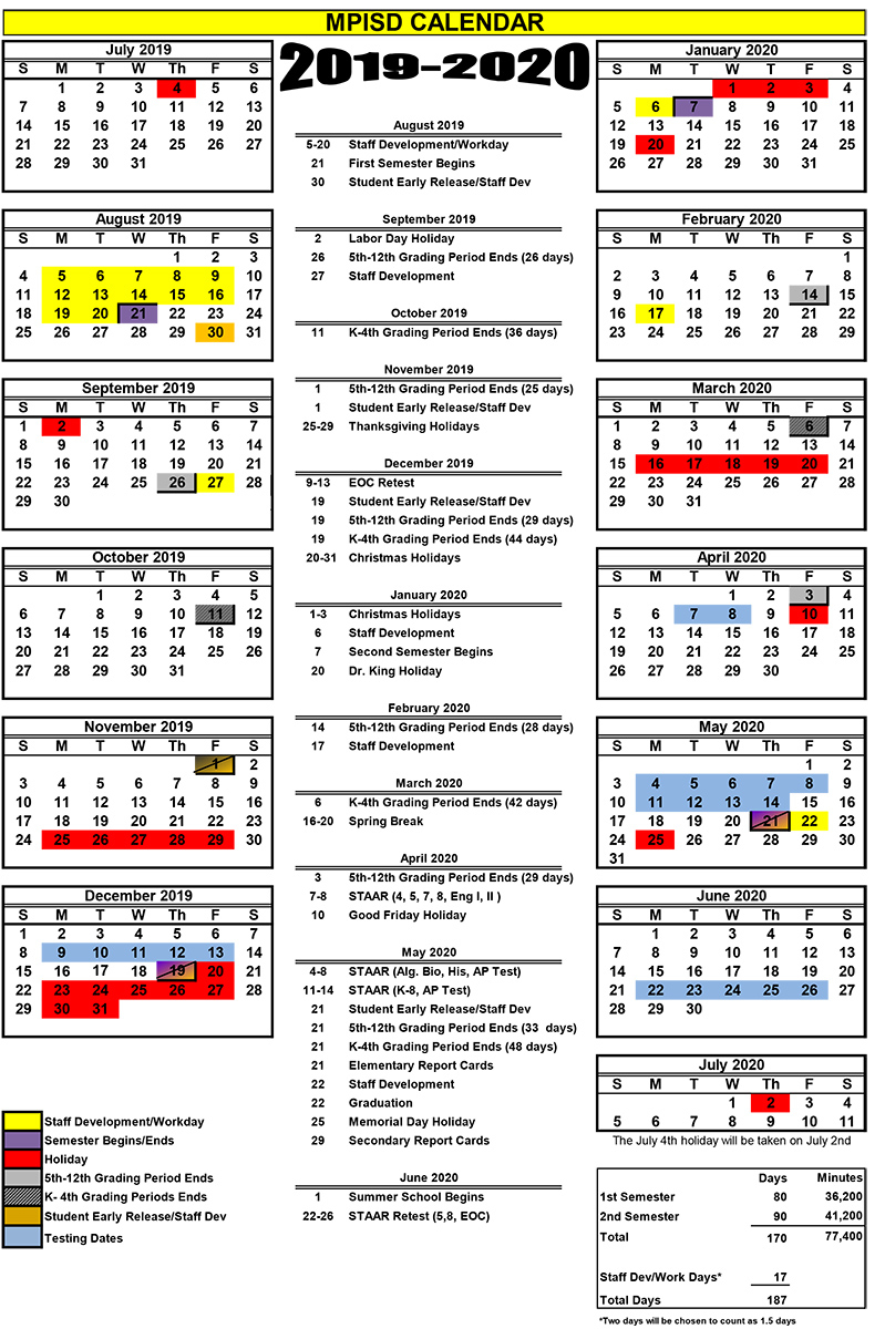 2019 2020 Calendar 2.xlsx – Mount Pleasant Isd Intended For Sulphur Springs Tx School District Calendar