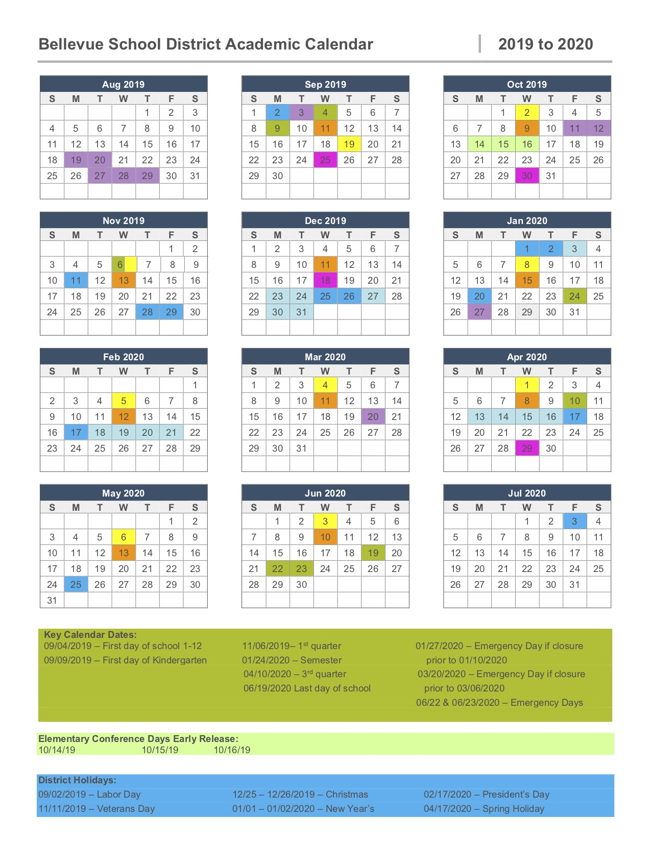 2019 2020 Calendar – Bellevue High School Throughout Clover Park Technical College Calendar